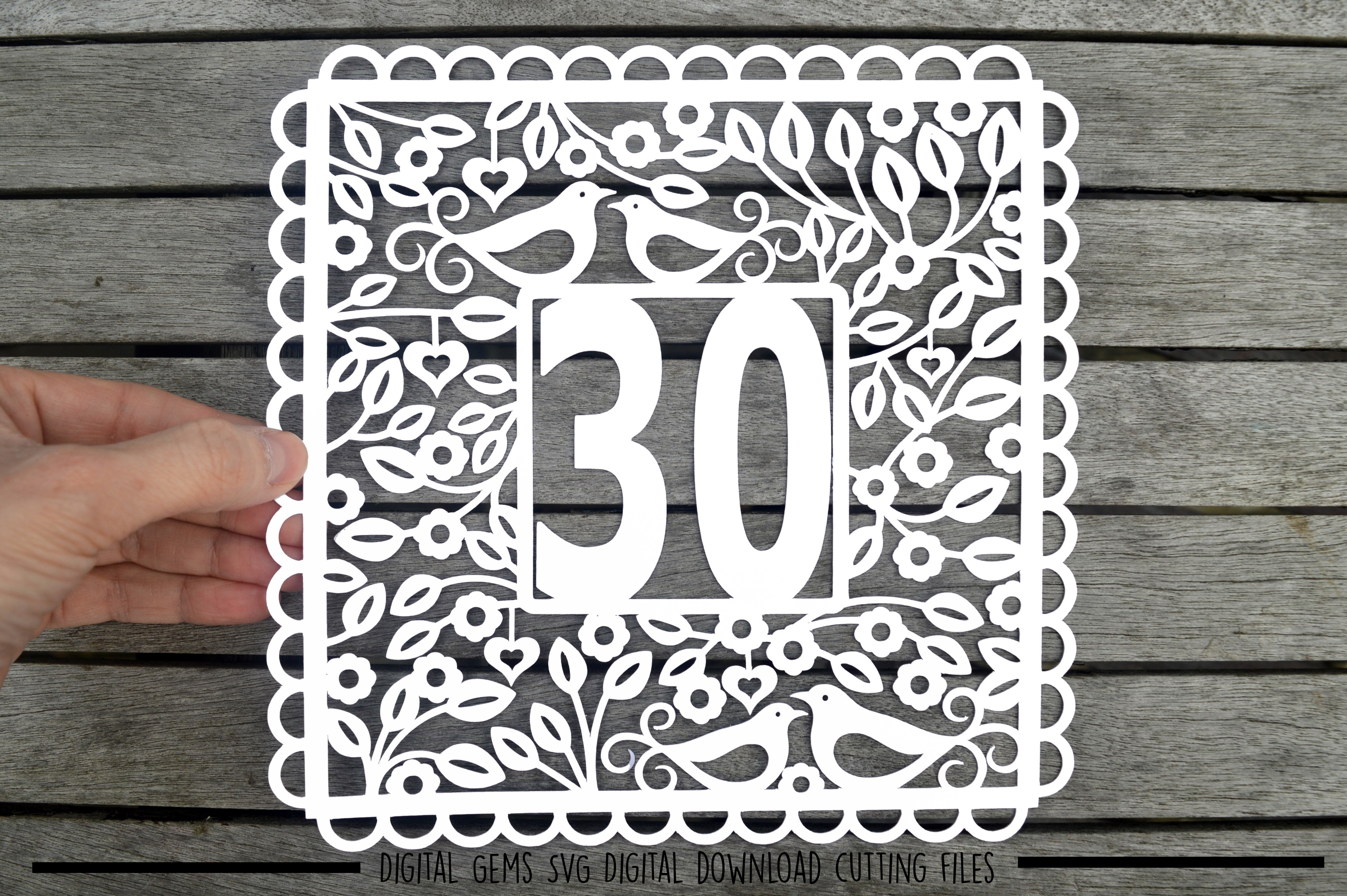 Number 30 paper cut SVG / DXF / EPS files example image 1