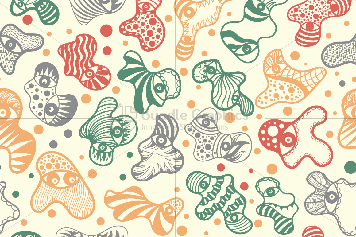 Cute Monsters - Scalable Vector Background example image 1