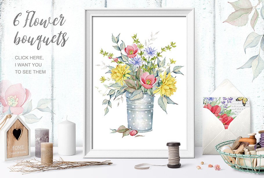 15%OFF. Watercolor Floral Collection example image 7