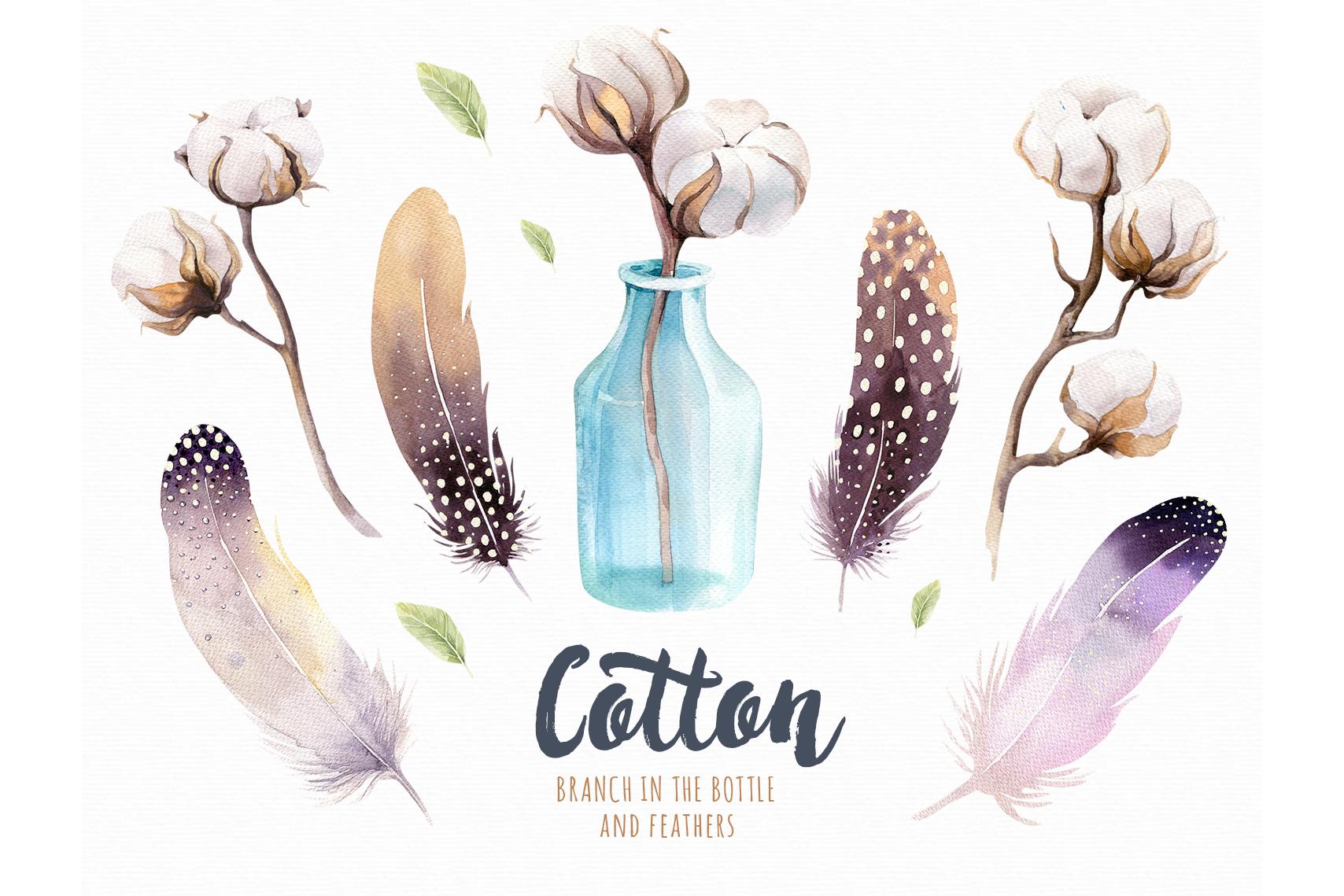 Watercolour cotton & birds example image 6