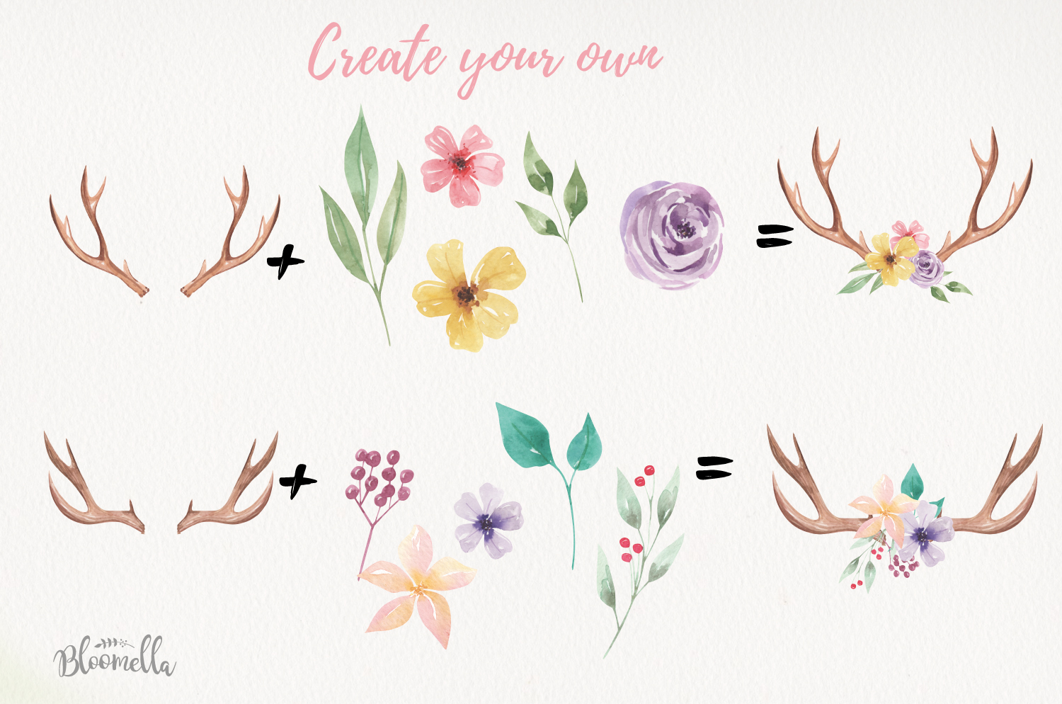 Create Your Own Watercolor Elements Flowers Antlers Florals example image 4