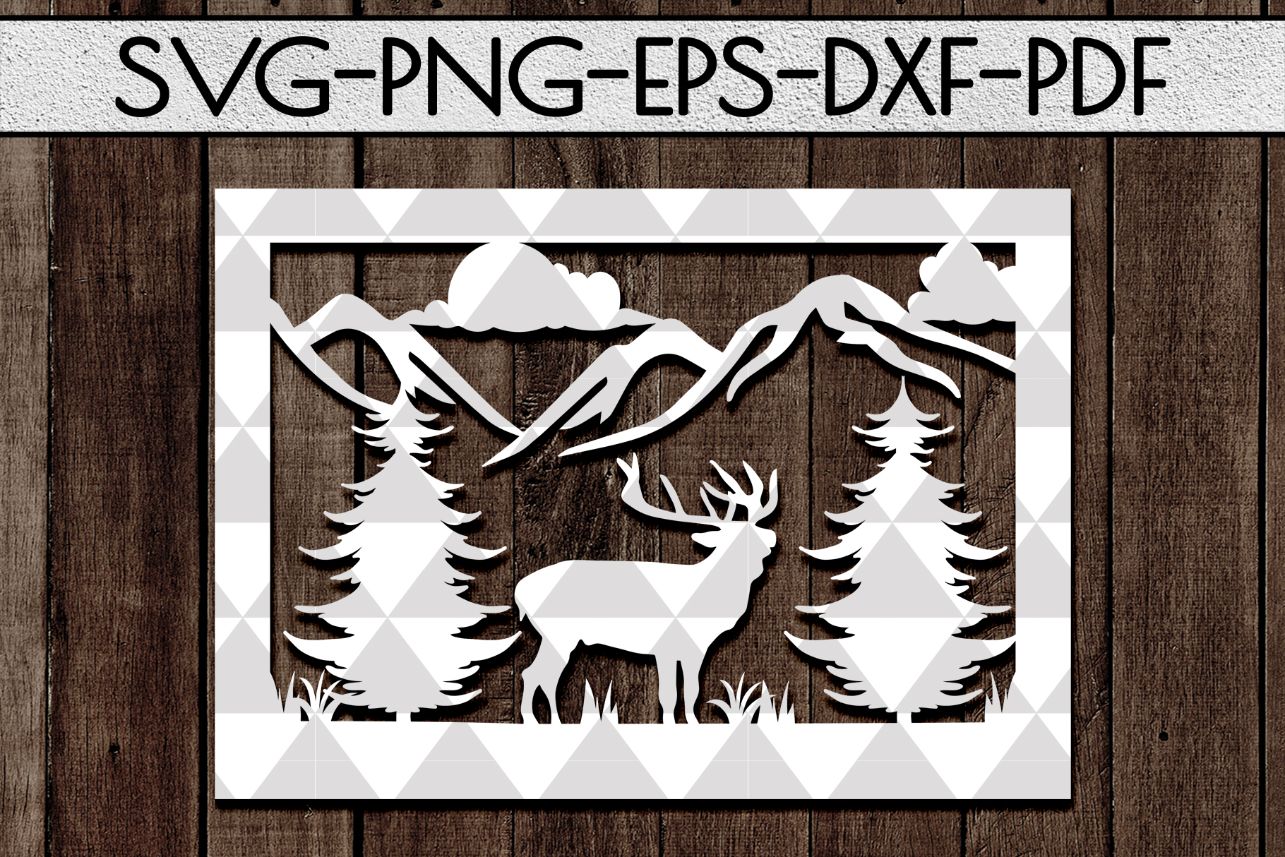 Wild Life Papercut Template, Woodland Adventure Scenery SVG example image 1