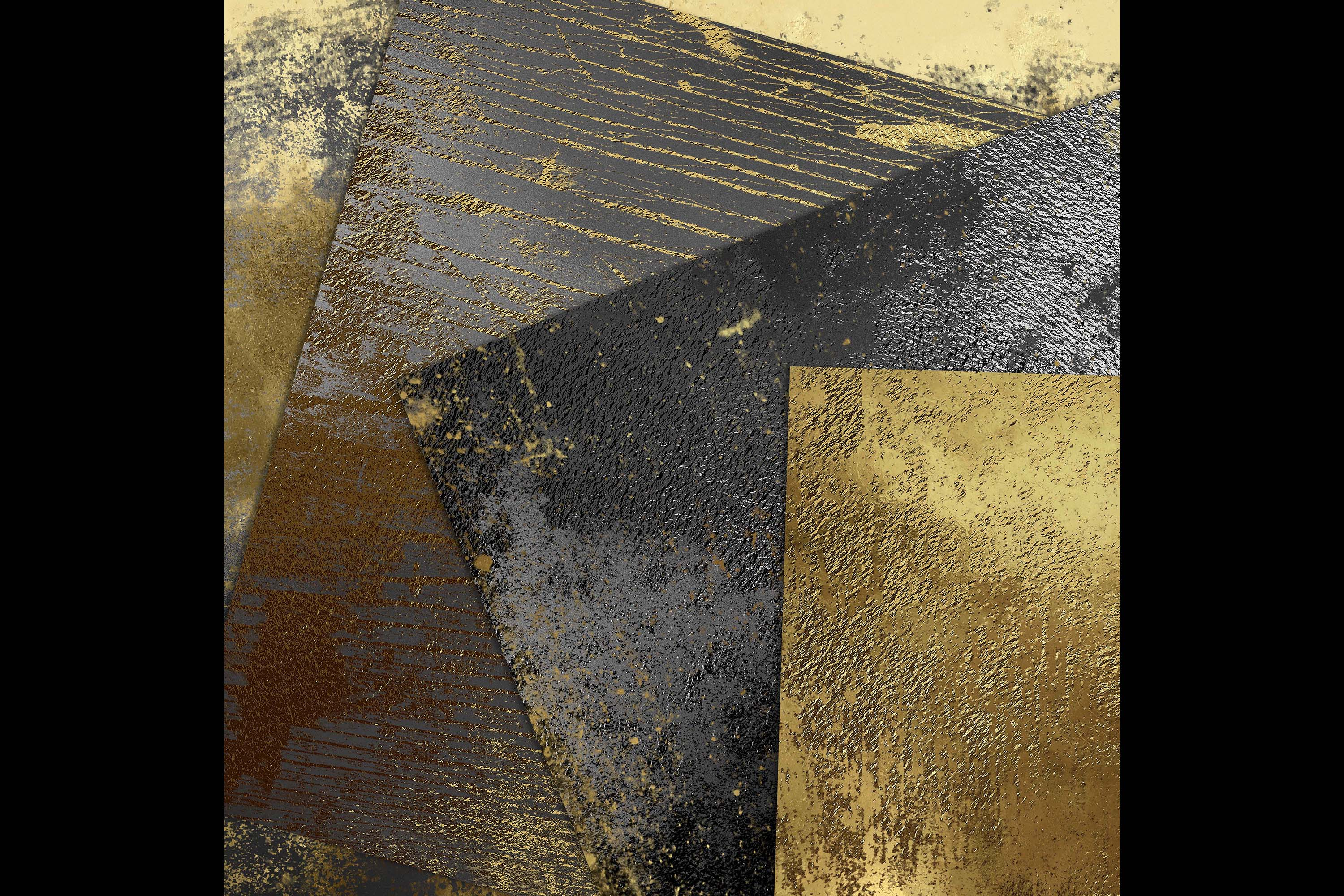 16 Distressed Metallic Gold Foil and Black Digital Papers example image 6