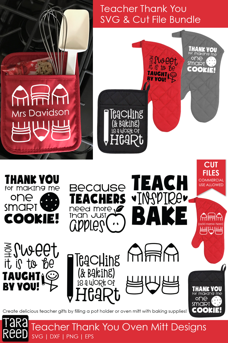 Teacher Thank You Oven Mitts - Teacher SVG files 4 Crafters example image 2