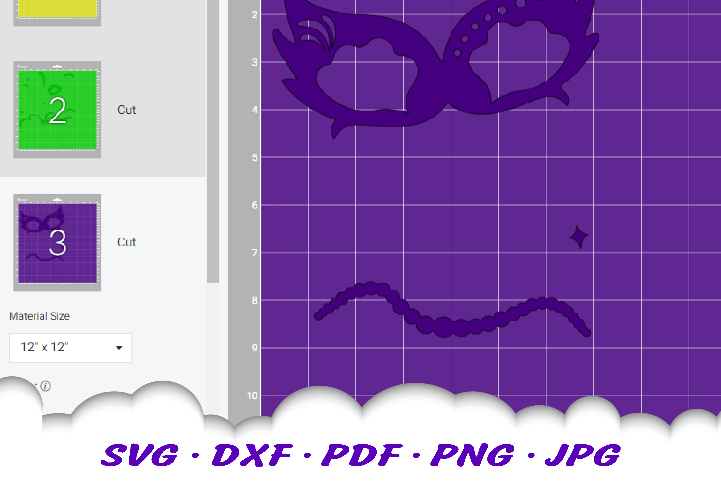 Mardi Gras Mask Beads SVG DXF Cut Files example image 2
