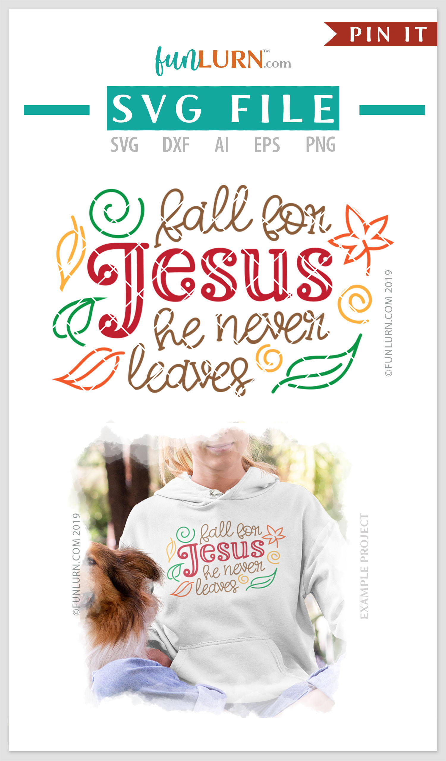 Fall For Jesus He Never Leaves SVG Cut File example image 4