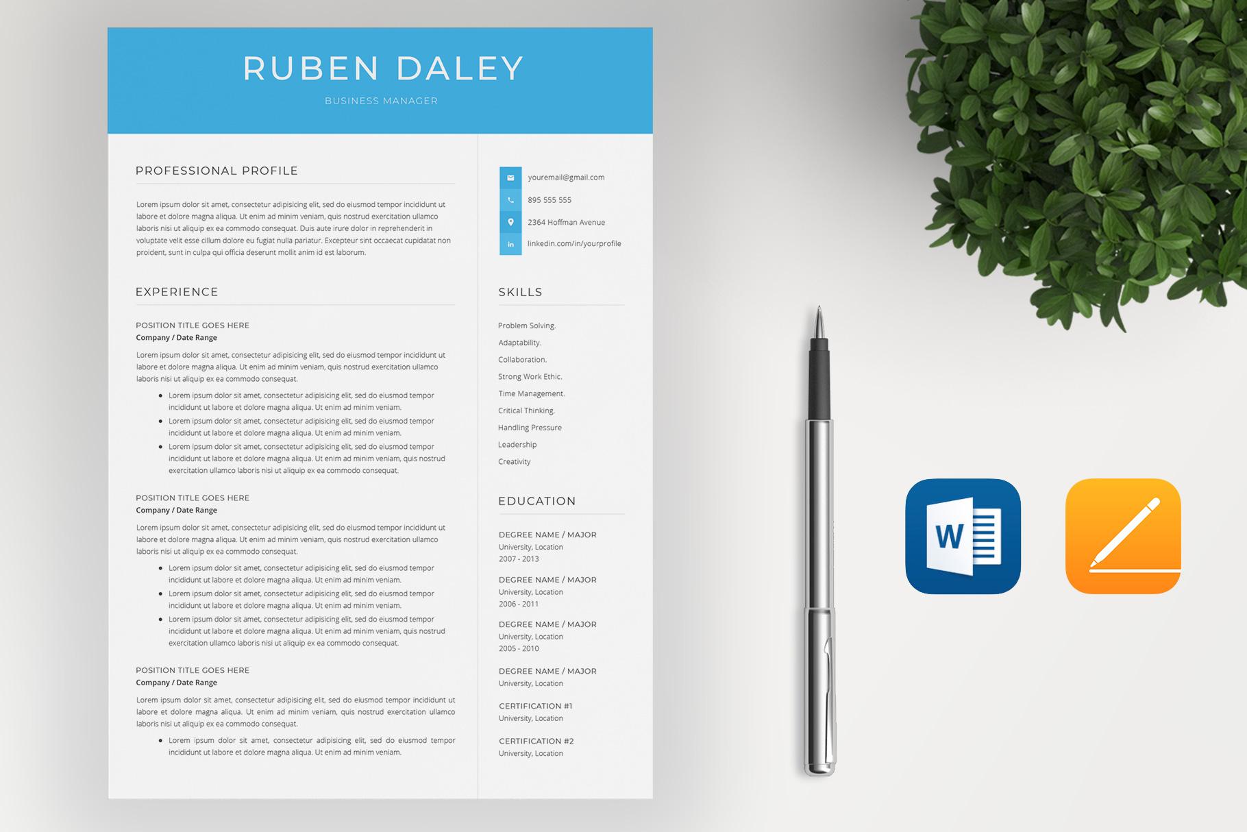 Modern Resume Template / CV Template example image 2