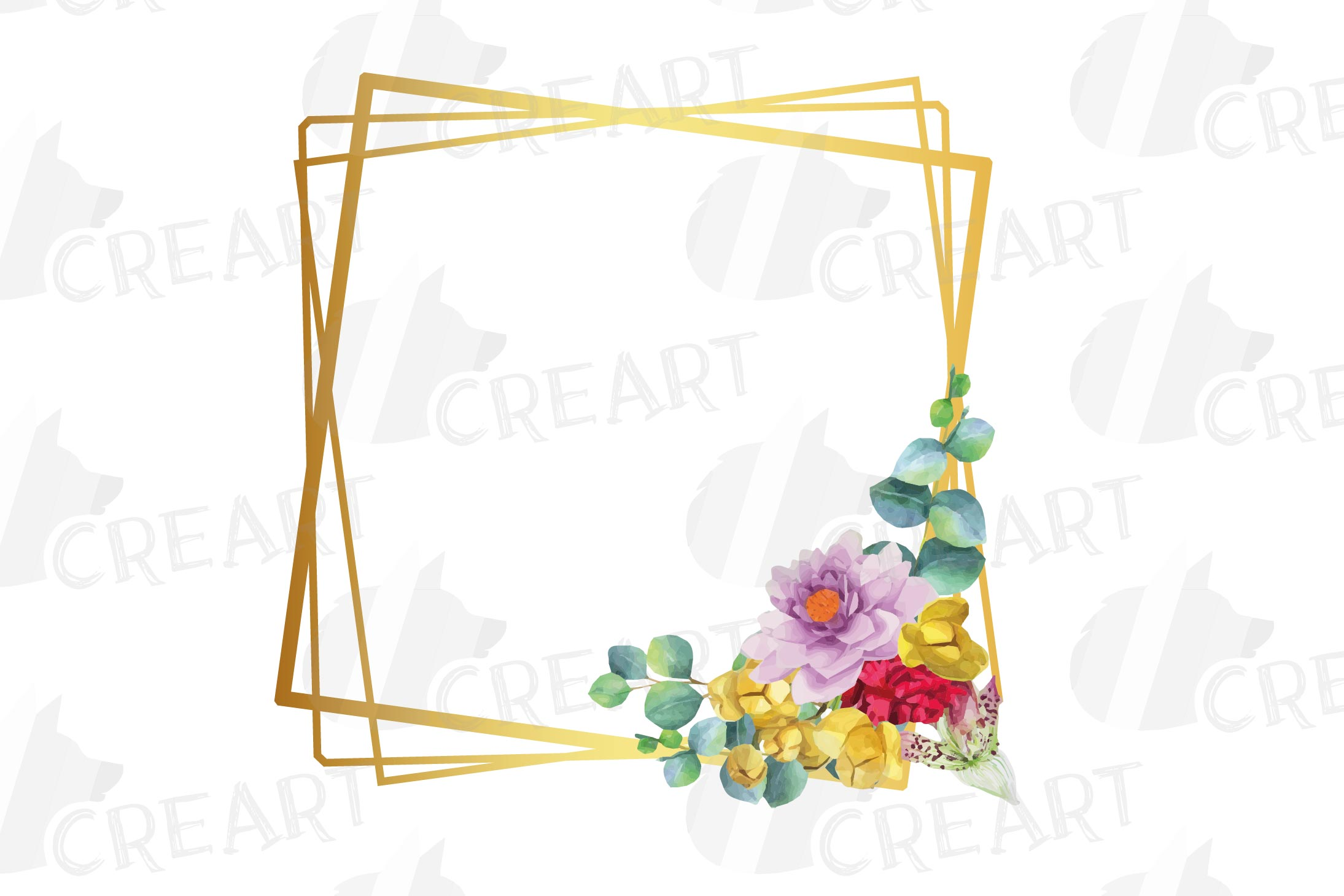 Watercolor floral golden frames and borders clip art pack example image 5