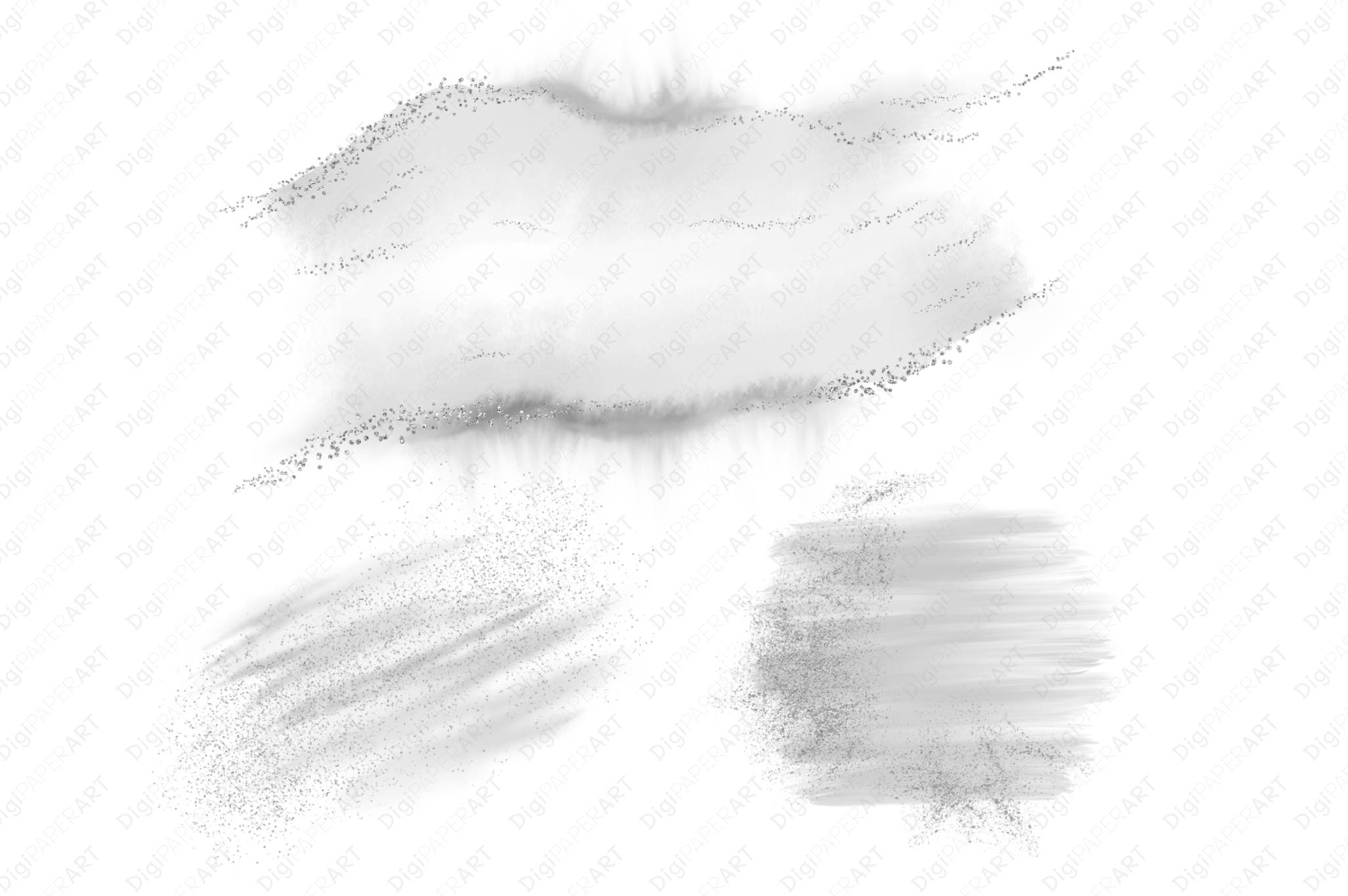Silver Glitter and Grey Watercolor Backgrounds example image 3