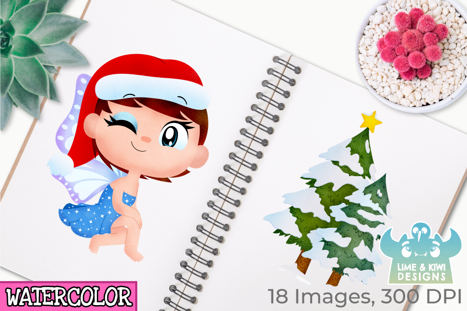 Christmas Fairies 1 Watercolor Clipart, Instant Download example image 3