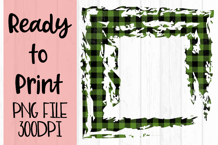 Olive Green Open Buffalo Plaid Frame Ready to Print example image 1