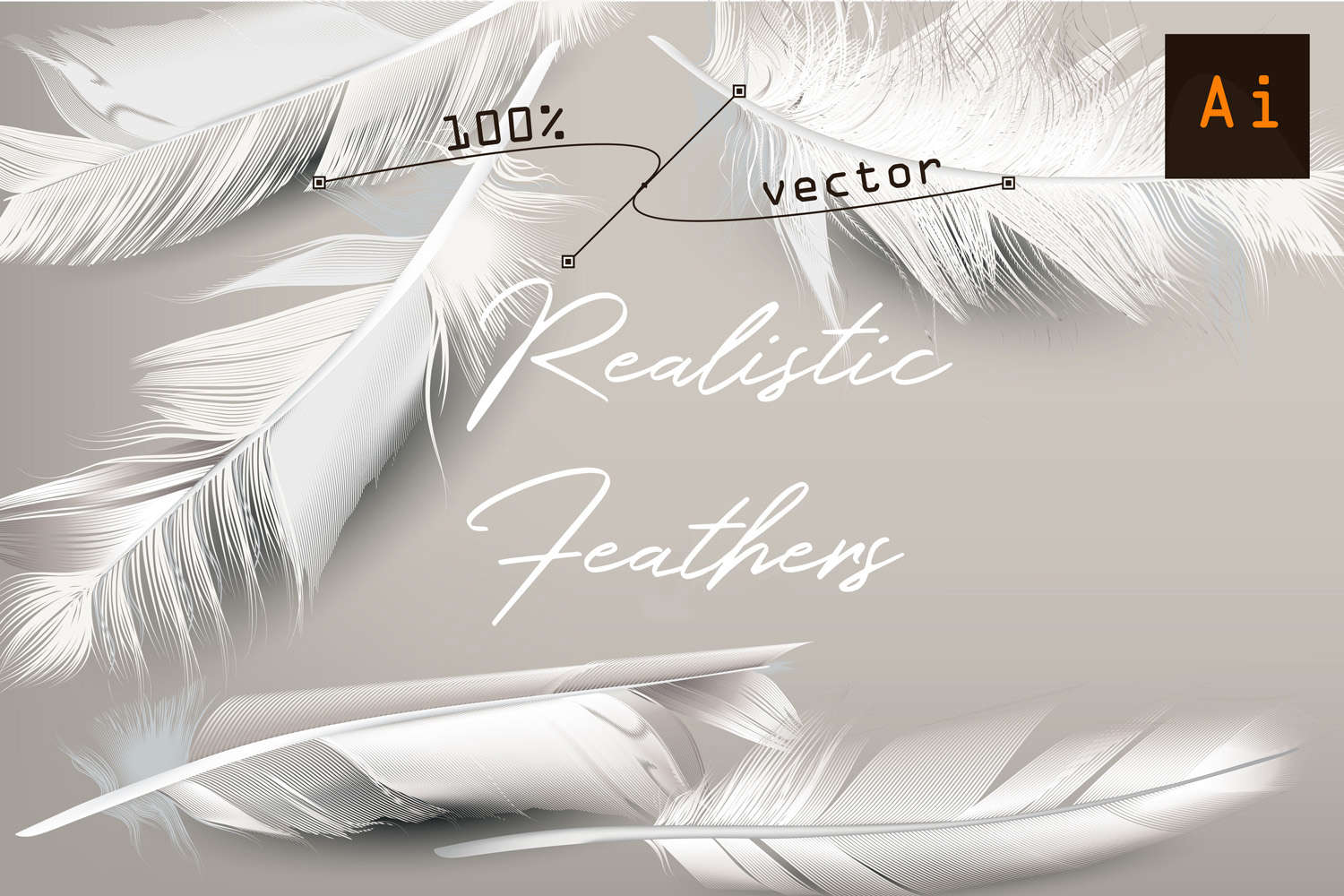 White feather. Vector realistic clipart example image 1