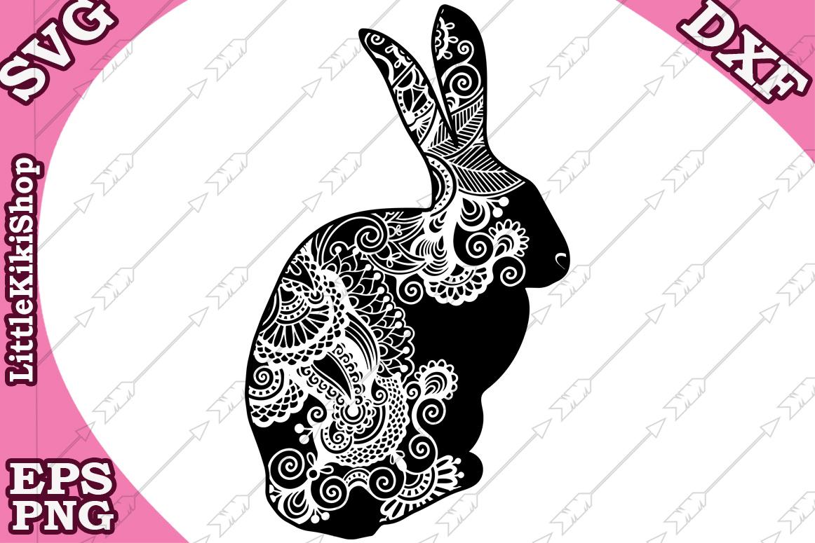 Zentangle Bunny Svg, Mandala Rabbit Svg, Zentangle animal Sv example image 1