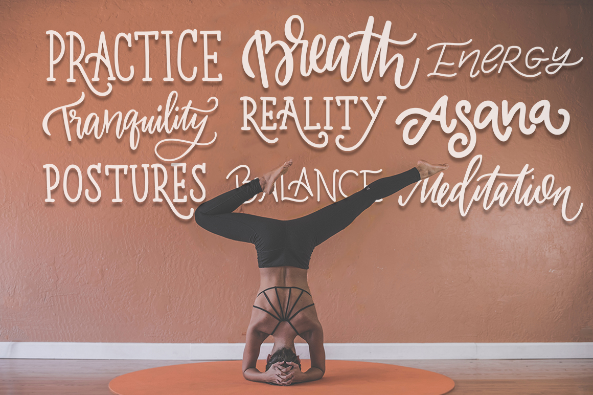 Yoga studio lettering & graphic set example image 6