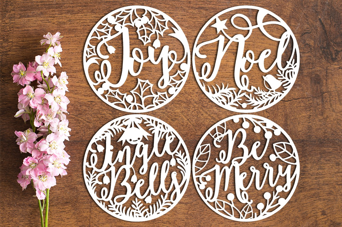 Christmas Baubles - Paper Cutting Template example image 1