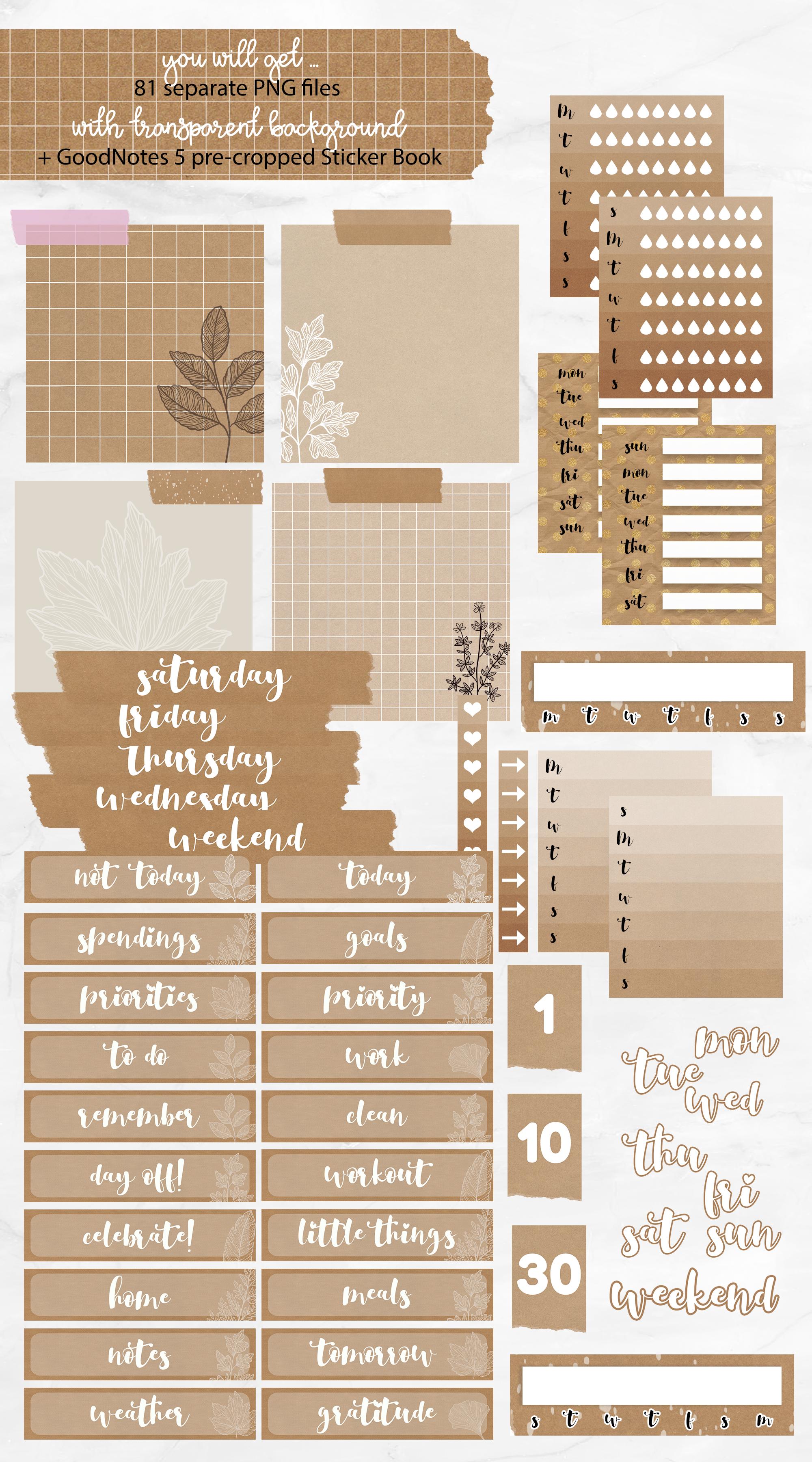 Digital Weekly Sticker Kit | Basic Kraft Style example image 2