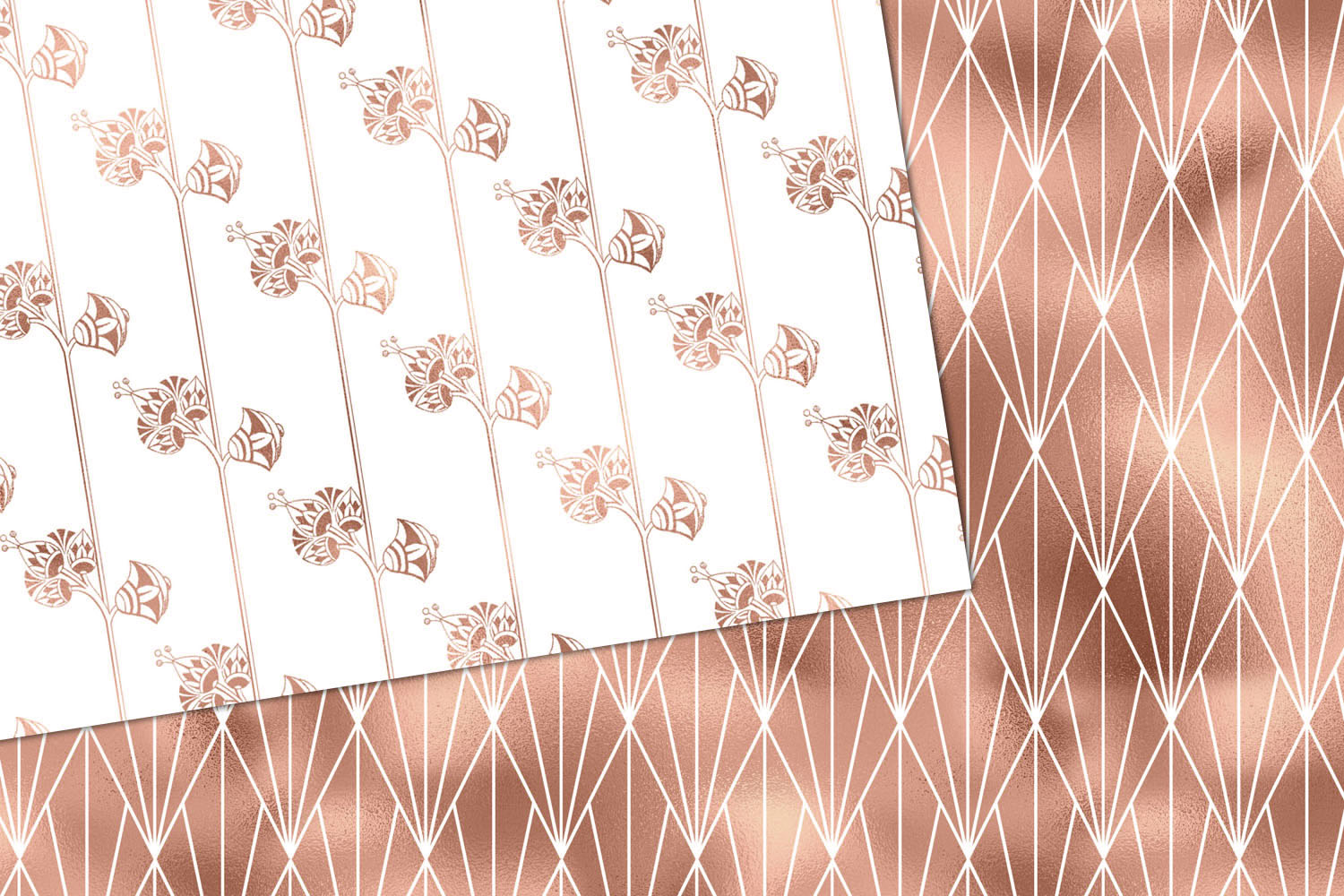 White and Rose Gold Art Deco Digital Paper example image 3