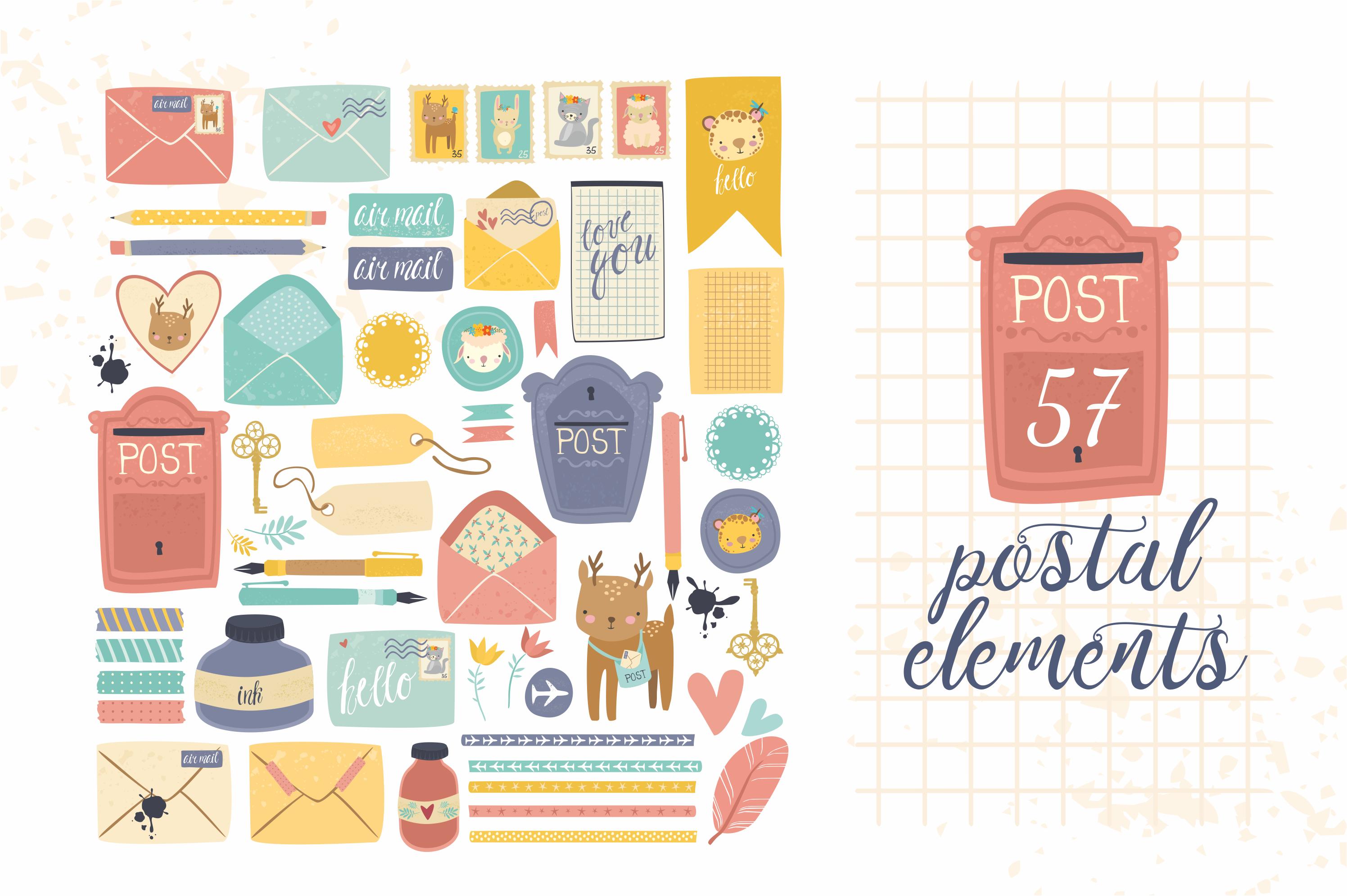 Postal set (eps, ai, png, jpg) example image 4