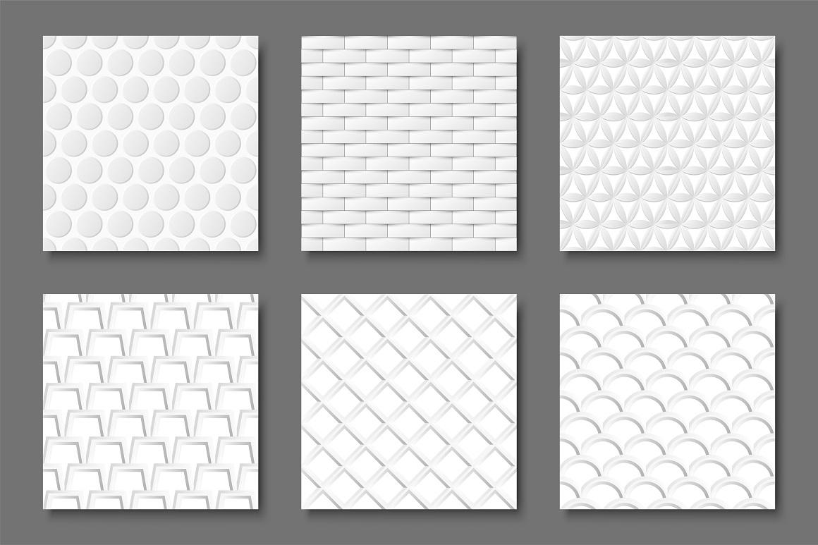 Seamless white geometric textures example image 1