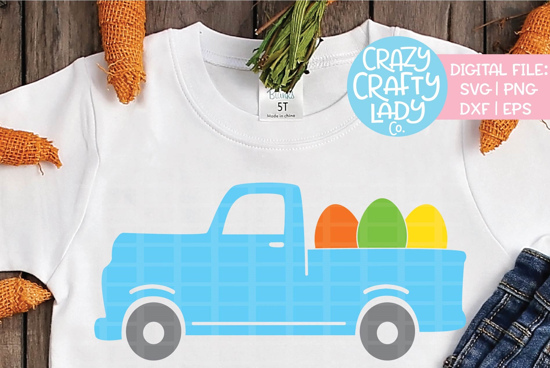 Easter Egg Truck SVG DXF EPS PNG Cut File example image 1