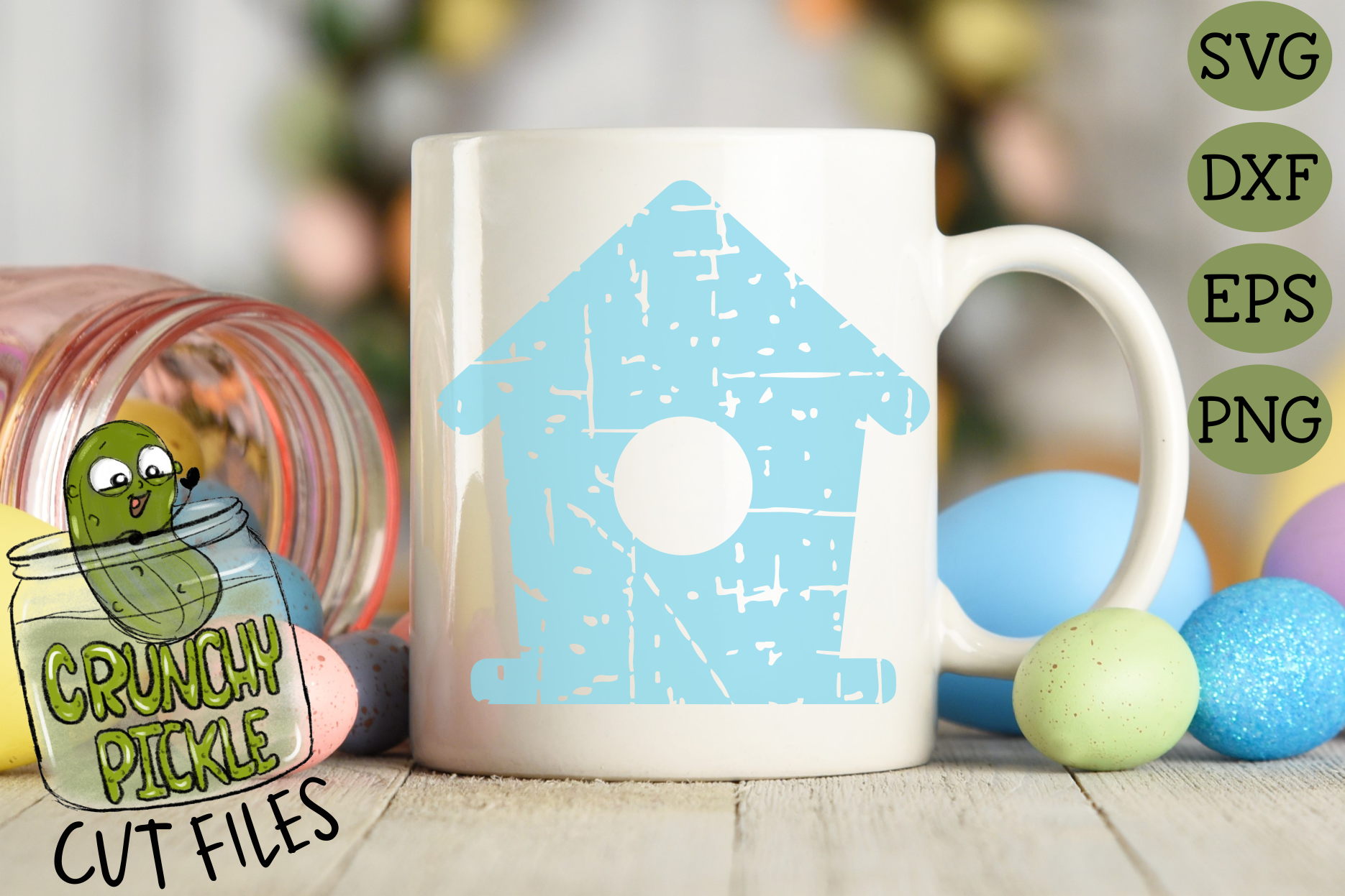 Plaid & Grunge Birdhouse SVG Cut File for Spring or Easter example image 3