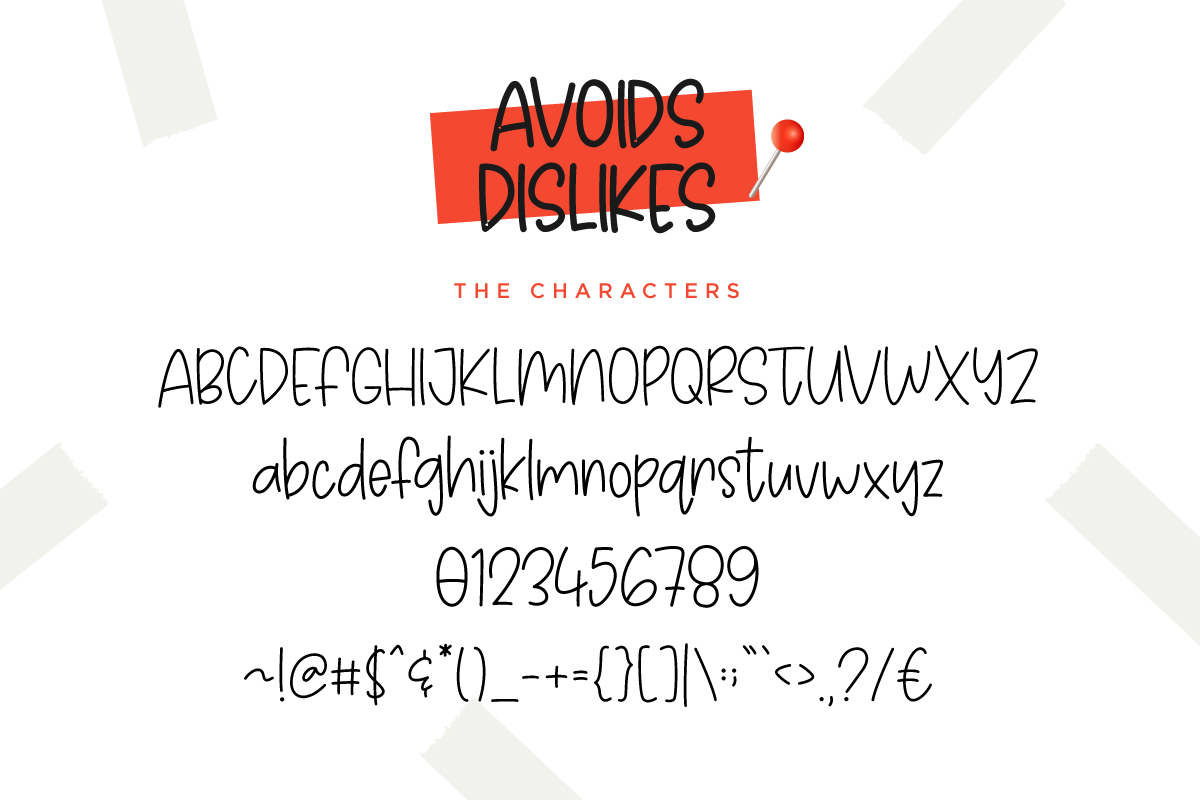 Avoids Dislikes | 3 Handmade Font example image 3