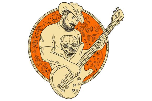 Cowboy Playing Bass Guitar Circle Drawing example image 1