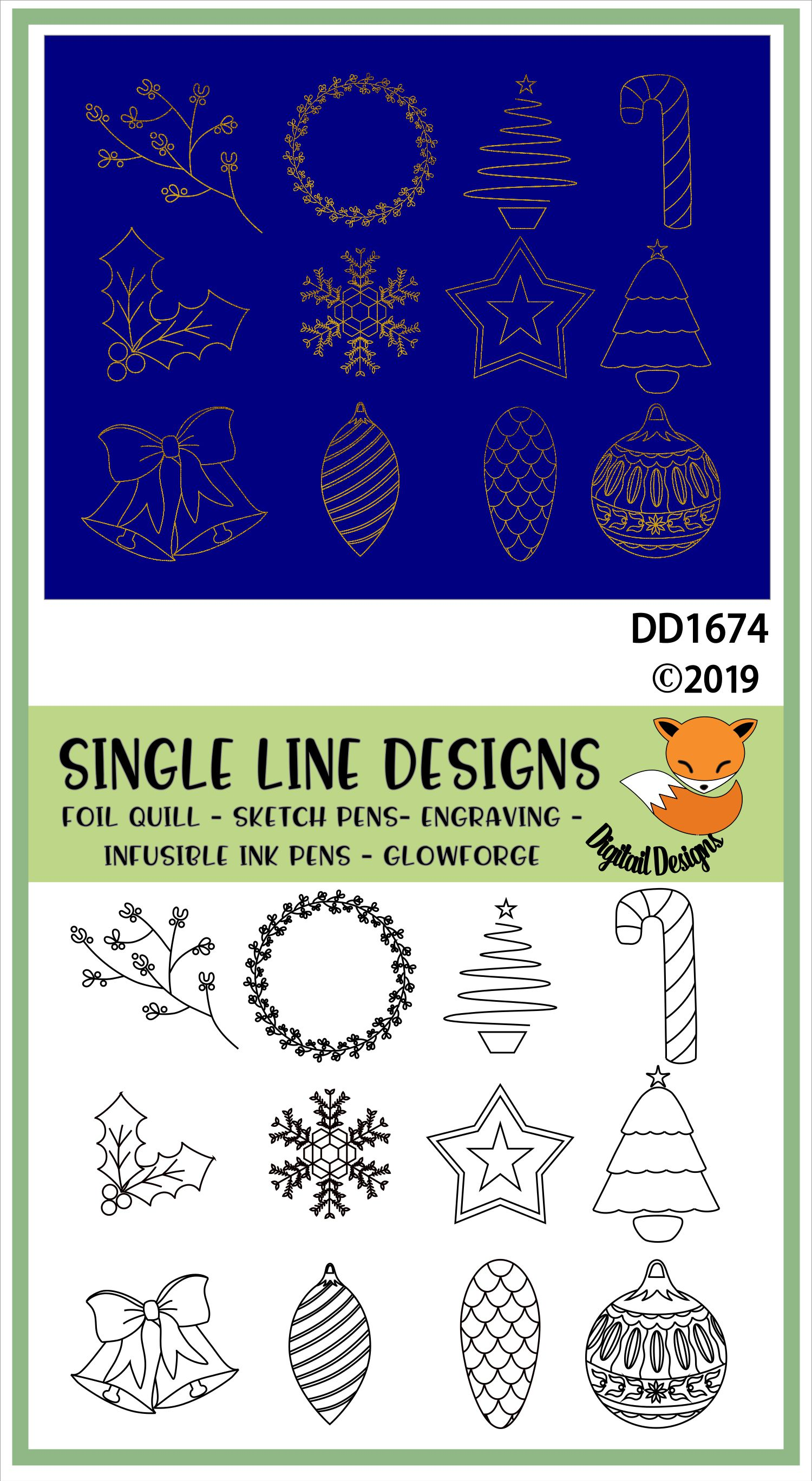 Foil Quill Christmas Illustration Doodle Bundle example image 2
