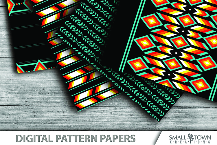 TRIBAL pattern, Aztec, Native American, PRINT, CUT & DESIGN example image 3