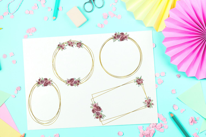 Geometric Gold Frames, Floral Crystal Frames, Wedding Frames example image 6