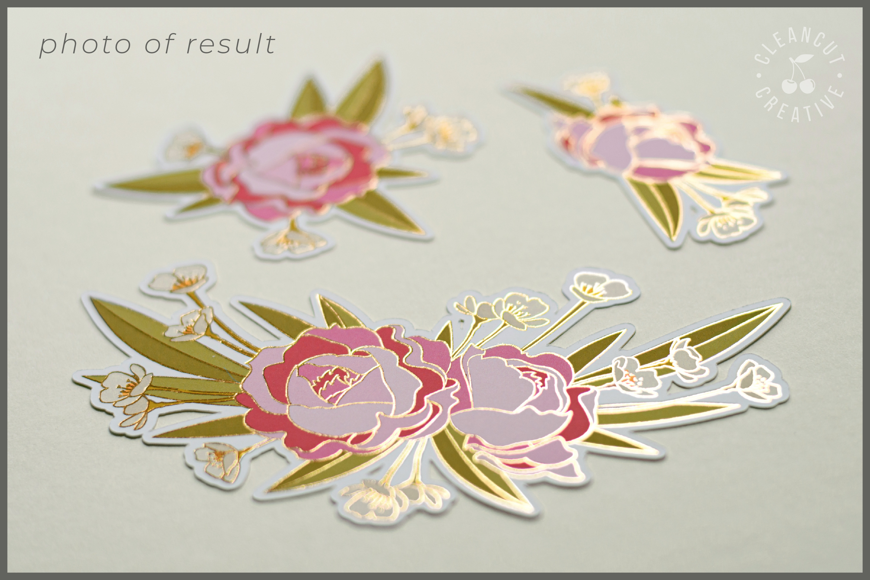 Foil Quill Flowers | Print & Foil single line sketch design example image 2