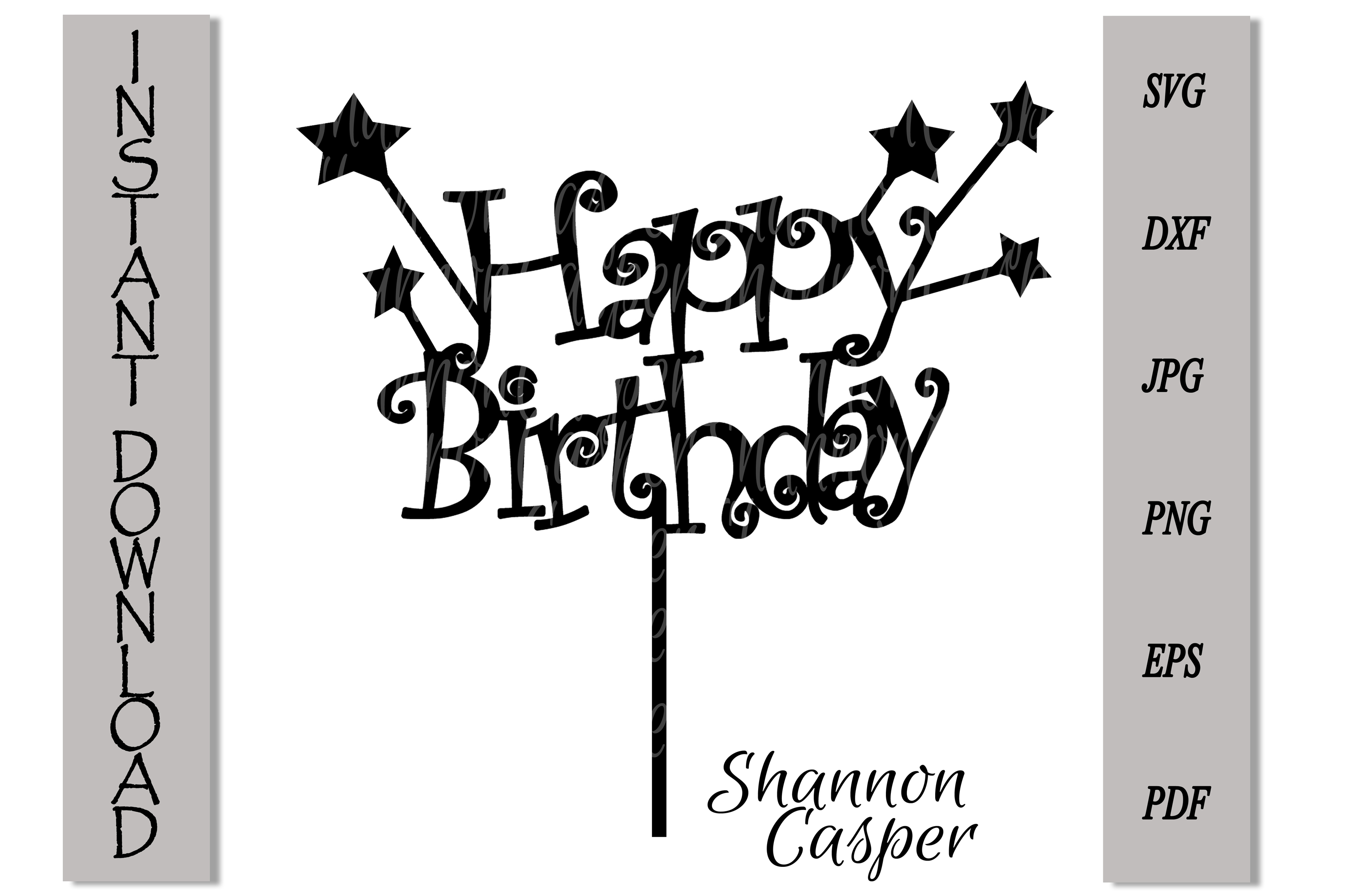 Happy Birthday Cake Topper with Stars example image 2