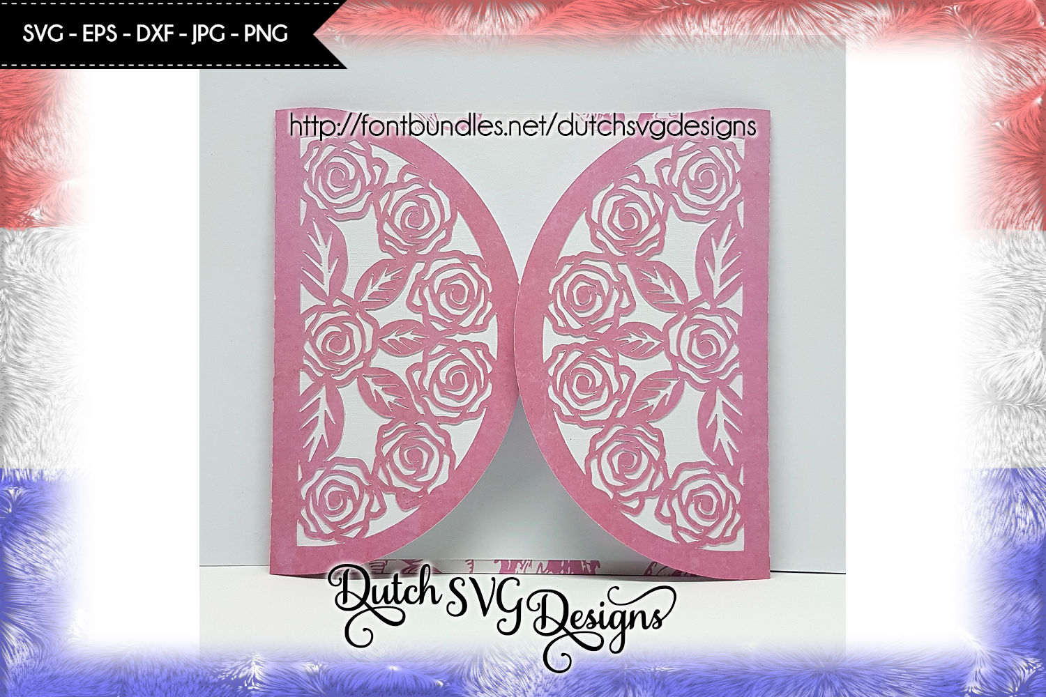 Blank card cutting file with roses, in Jpg Png SVG EPS DXF, cricut svg, silhouette cut file, card svg, rose card cutting file, rose card example image 1