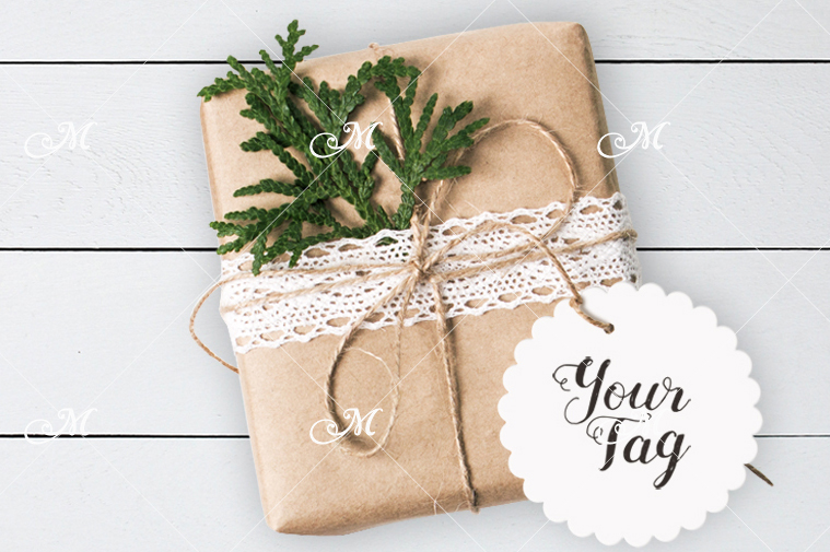 Mockup of Gift Box w Round Tag. PSD example image 2