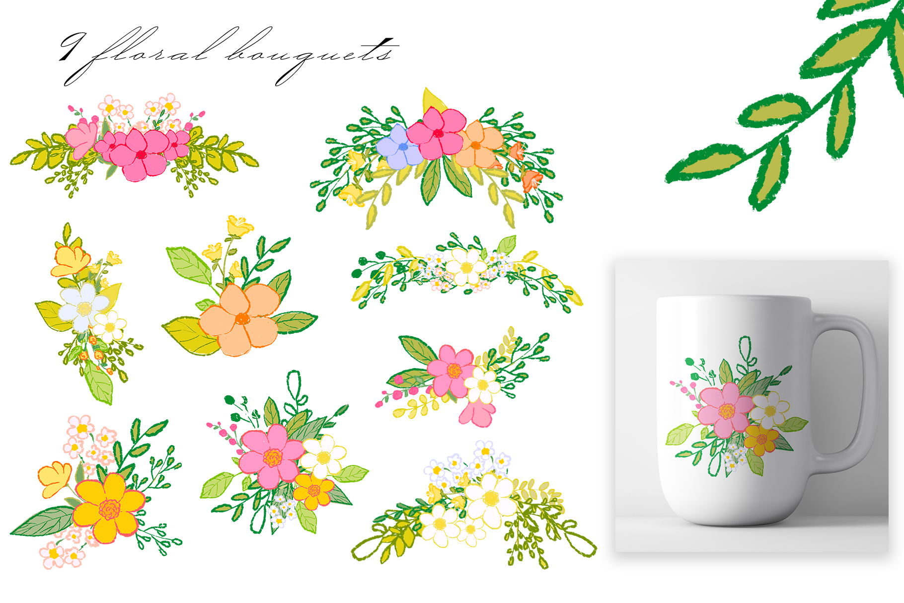 Hand draw colorful spring flowers example image 2