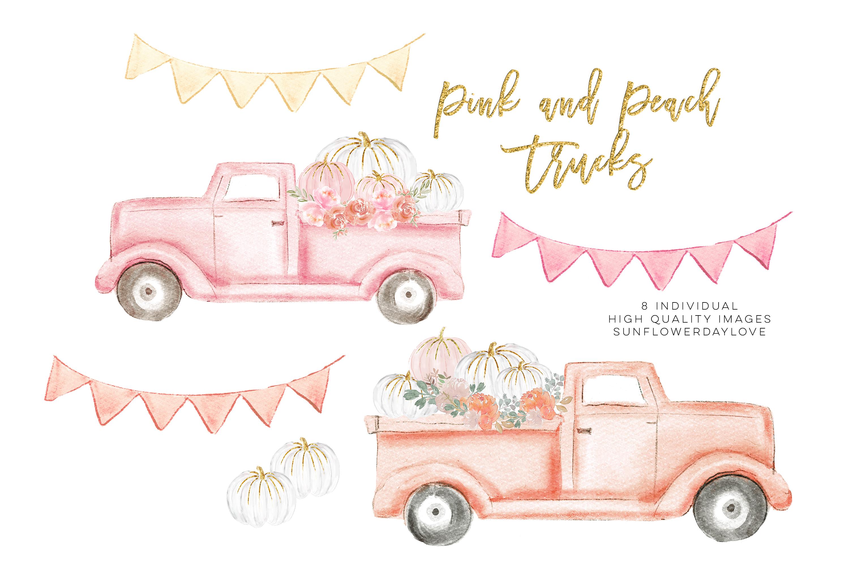 Autumn Truck, pink Pumpkin Harvest Truck example image 4