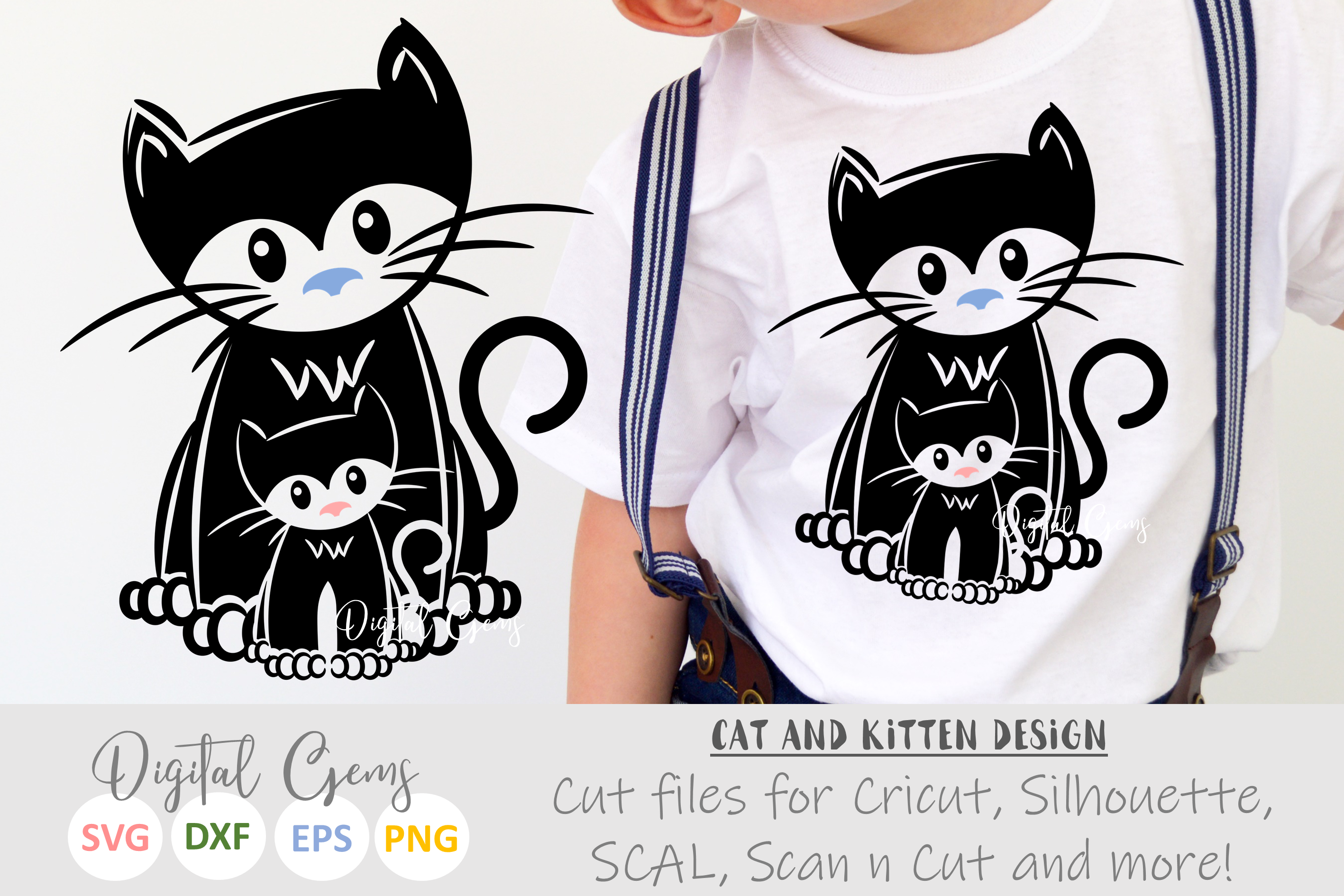 Kitten and Cat SVG / EPS / DXF / PNG files example image 1