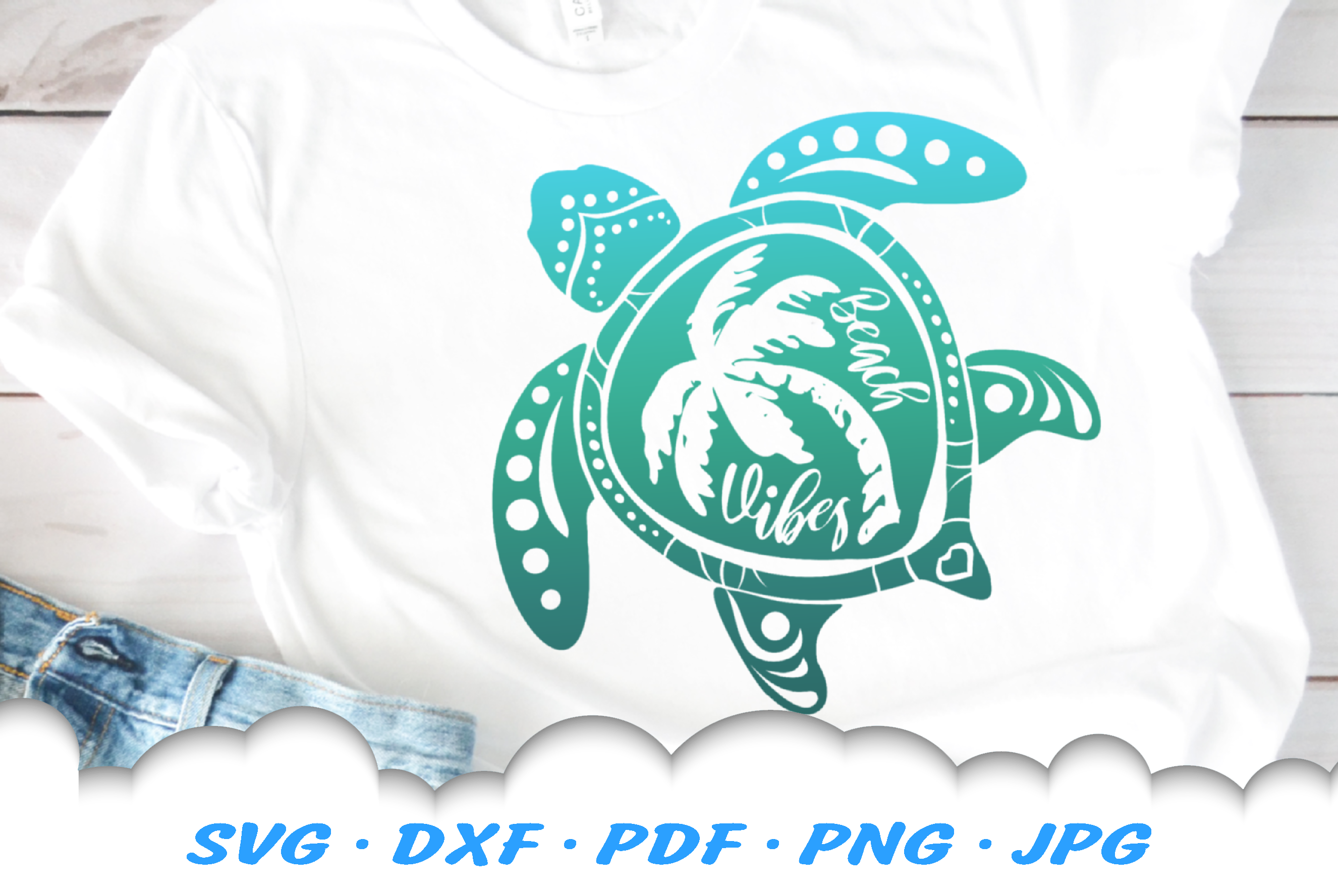 Beach Vibes Sea Turtle Palm Beach SVG DXF Cut Files example image 1