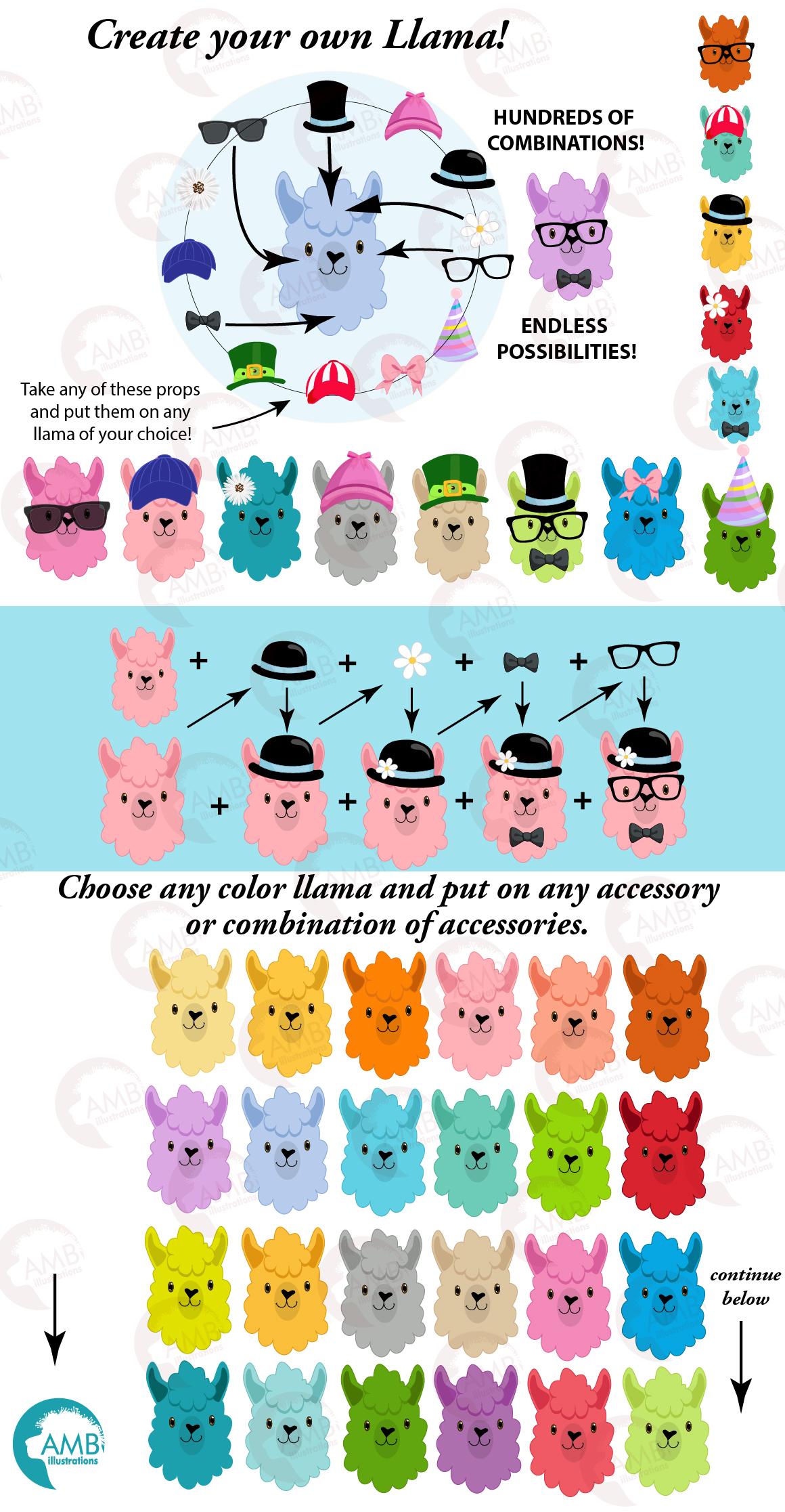 Create your own LLama, DIY Llama Funny Faces clipart, graphics, illustrations, AMB-2376 example image 7