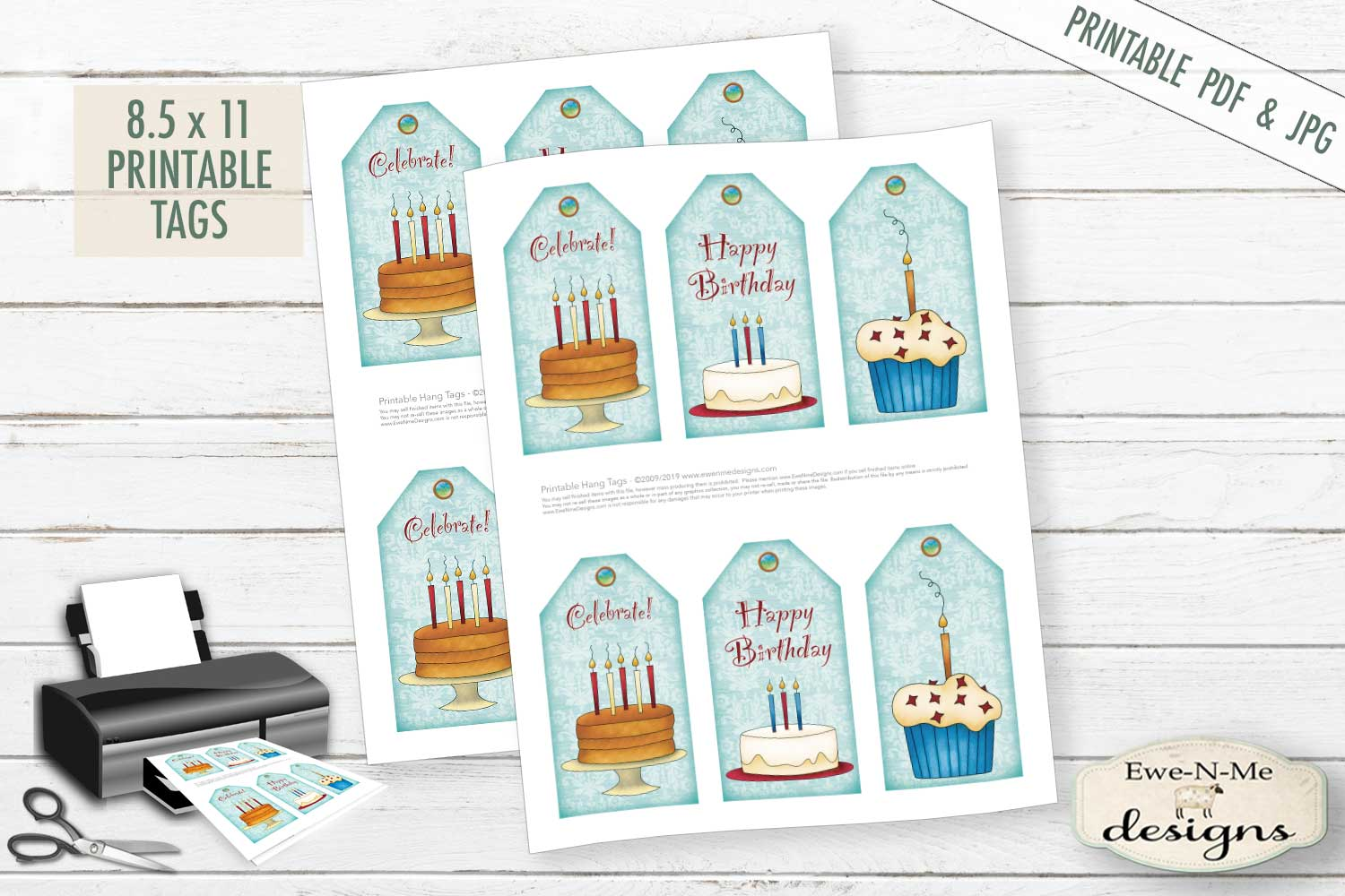 Printable Birthday Tags - Cake Cupcakes - PDF & JPG example image 2