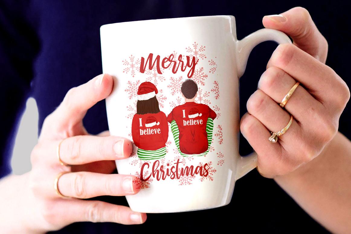 Christmas family clipart, Santa hat, Santa matching pajamas example image 3