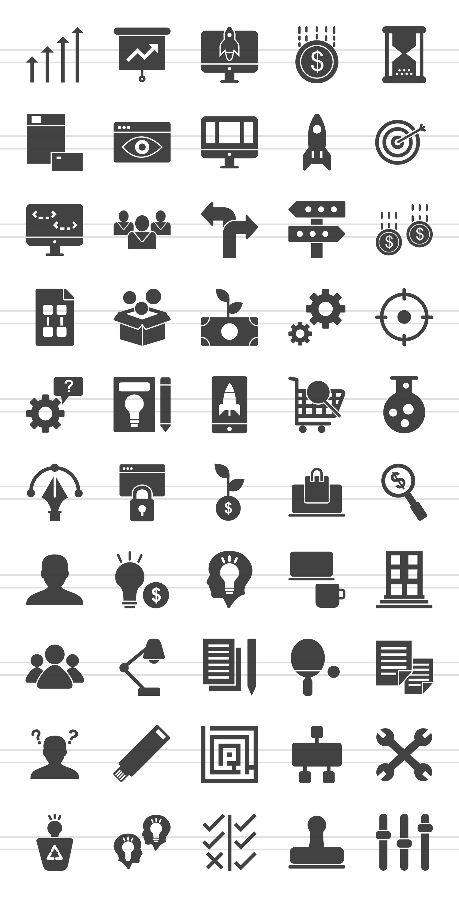 50 Startup Glyph Icons example image 2