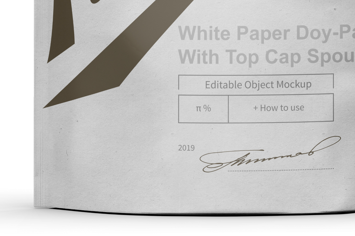 White Paper Doy-Pack With Top Cap Spout Mockup example image 4
