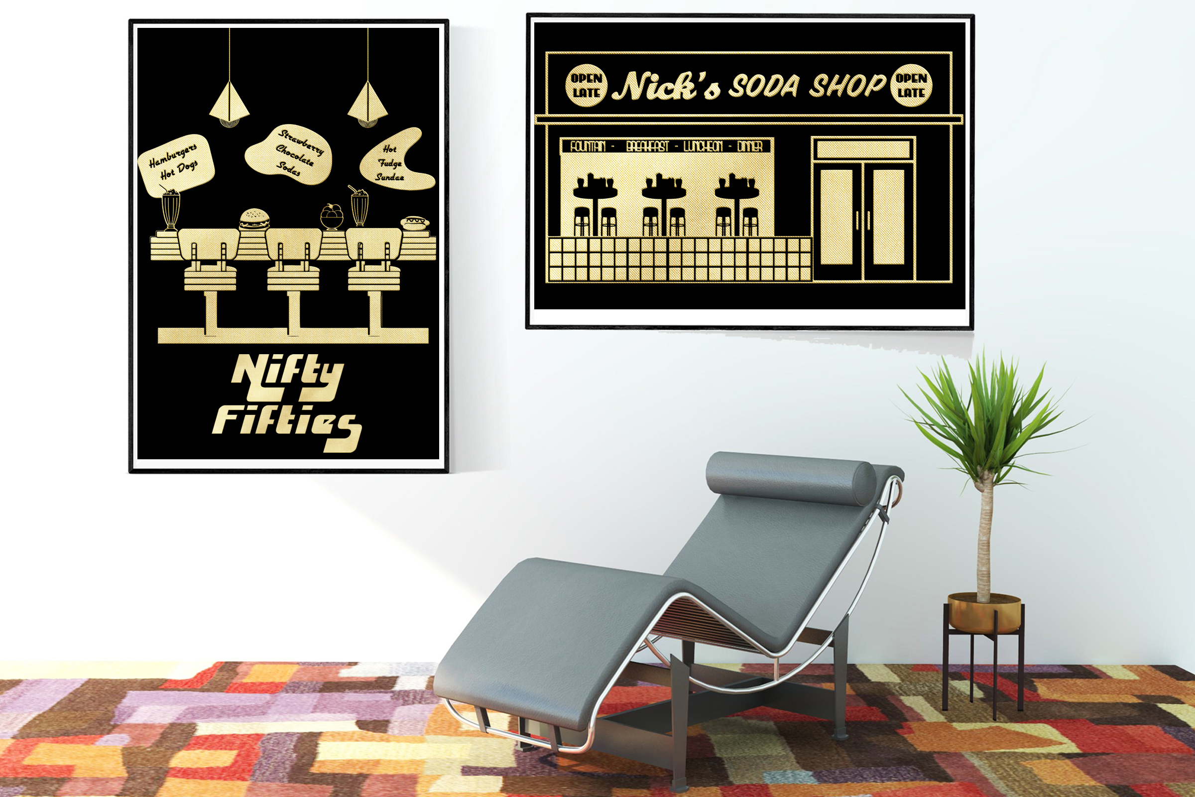Retro 1950s Gold Foil Life and Party ClipArt example image 6