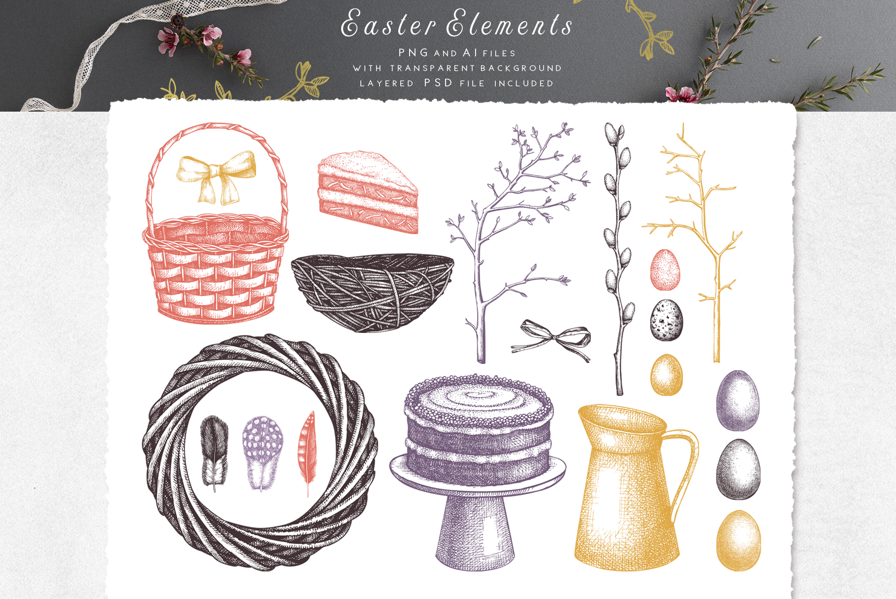 Hand Drawn Easter Design Elements example image 9