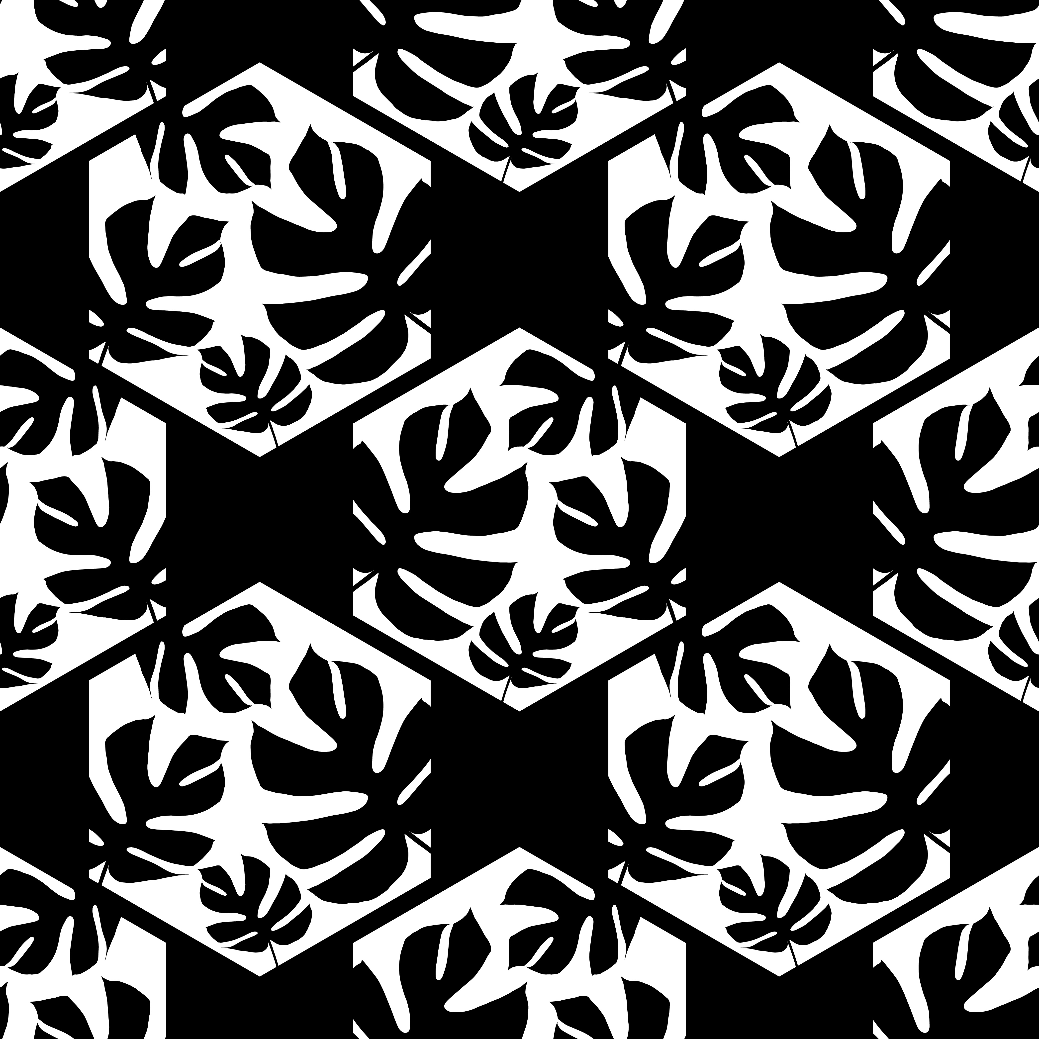 Seamless background with decorative leaves. Monstera branch leaves in the hexagon.  example image 4