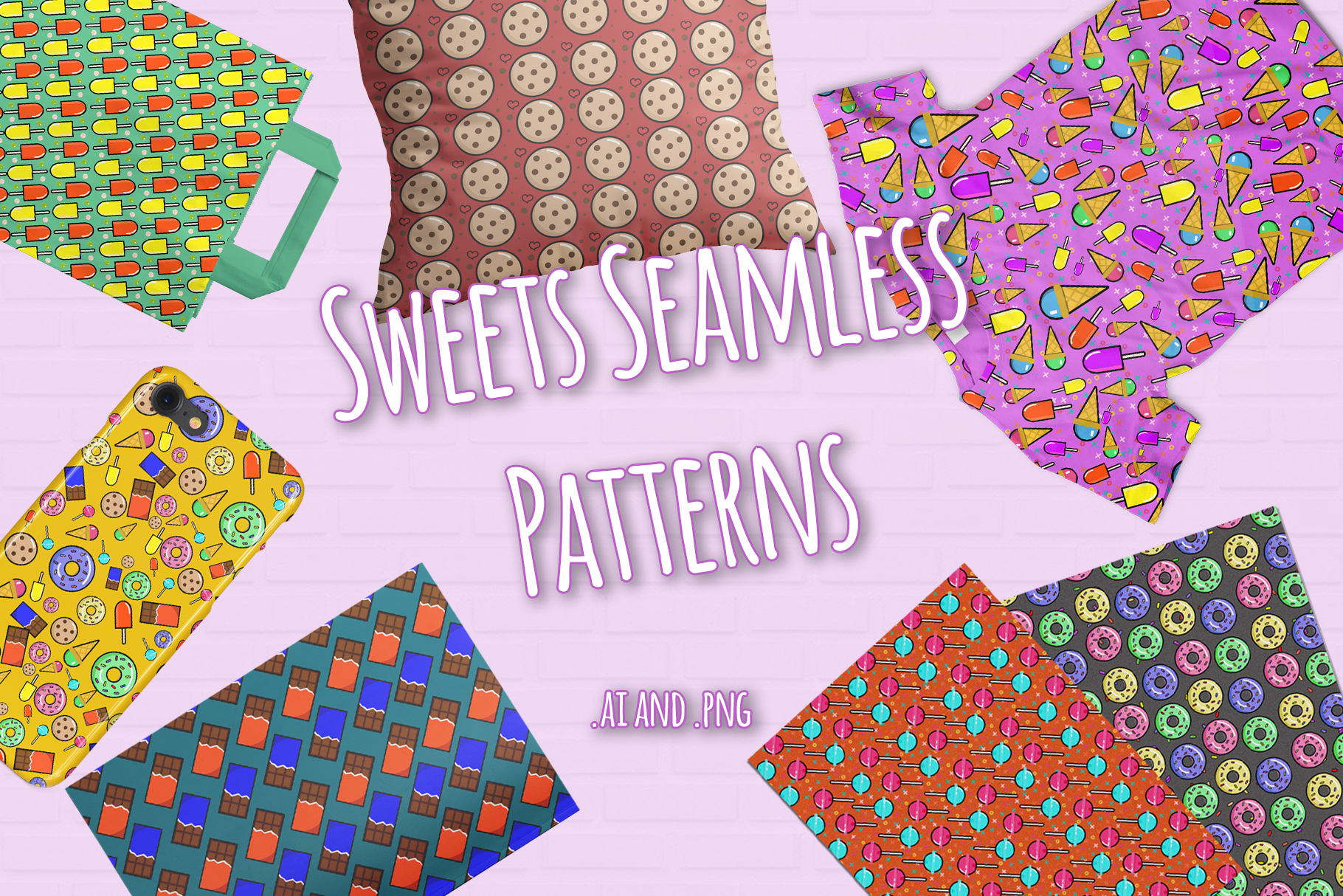 10 Sweets Seamless Patterns example image 1