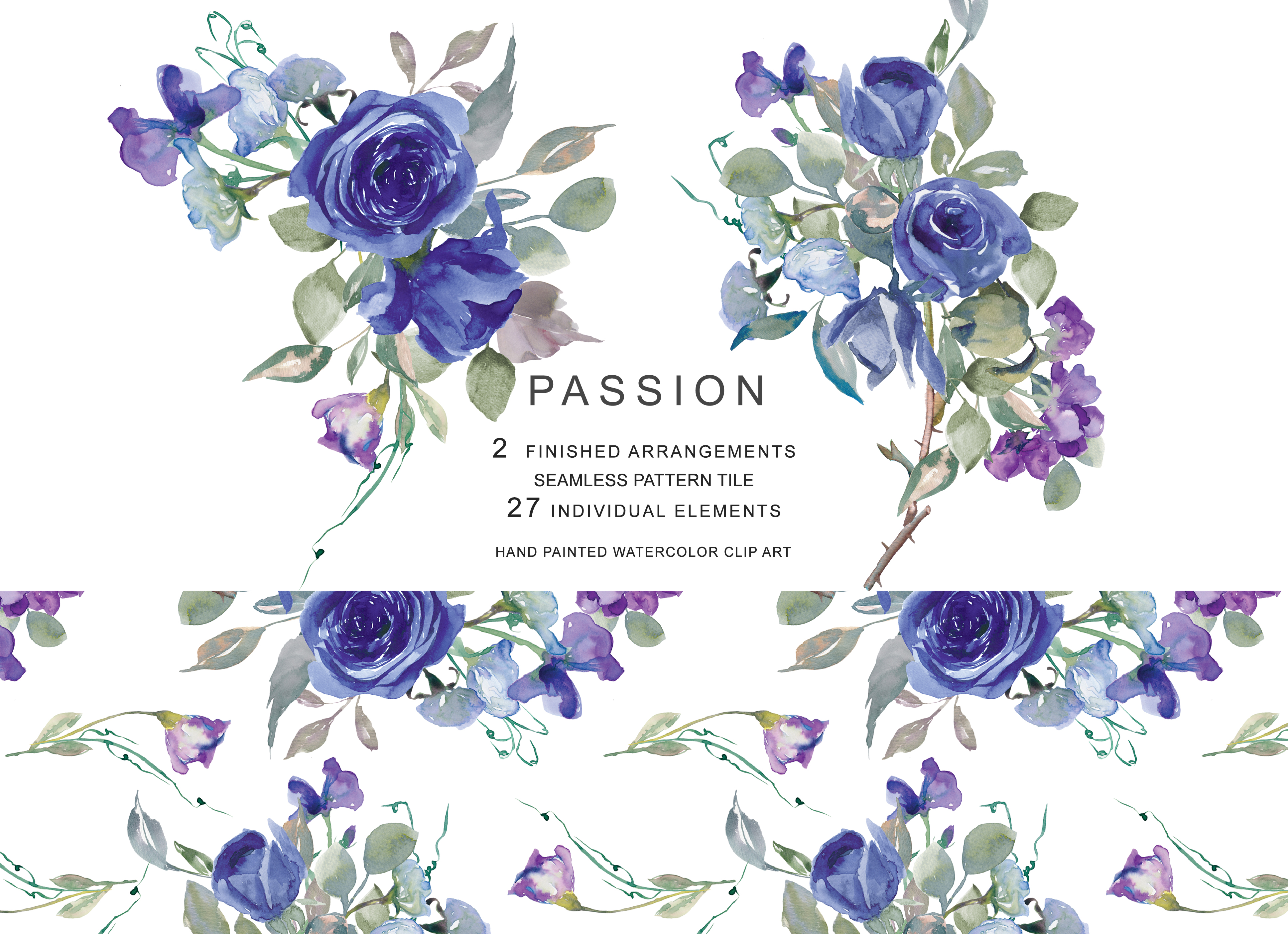 Watercolor Purple and Blue Flowers Clipart (95320 ...