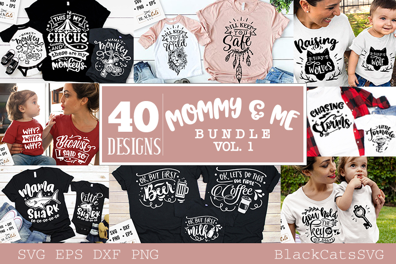 Mommy and me SVG bundle 40 designs vol 1 example image 1