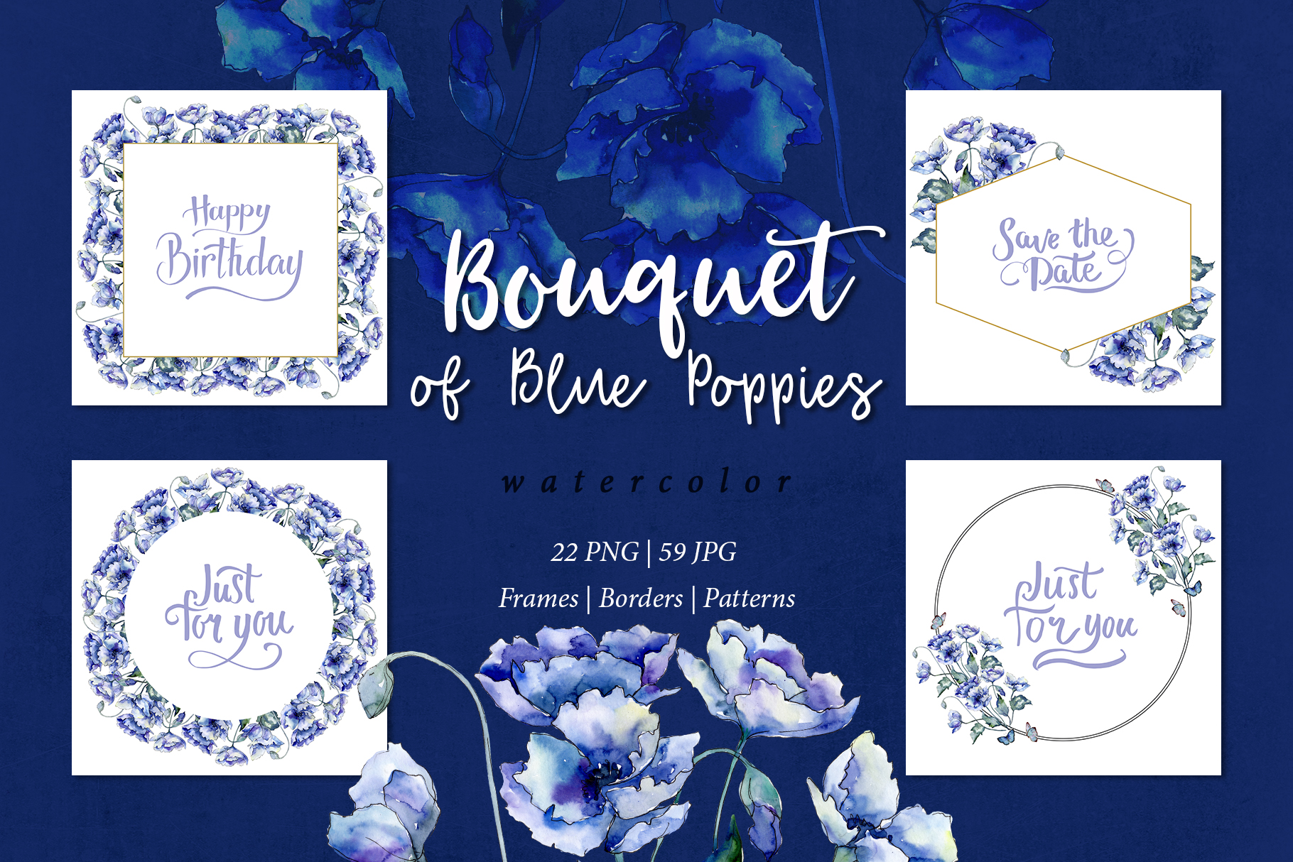 Bouquet of blue poppies PNG watercolor set example image 1